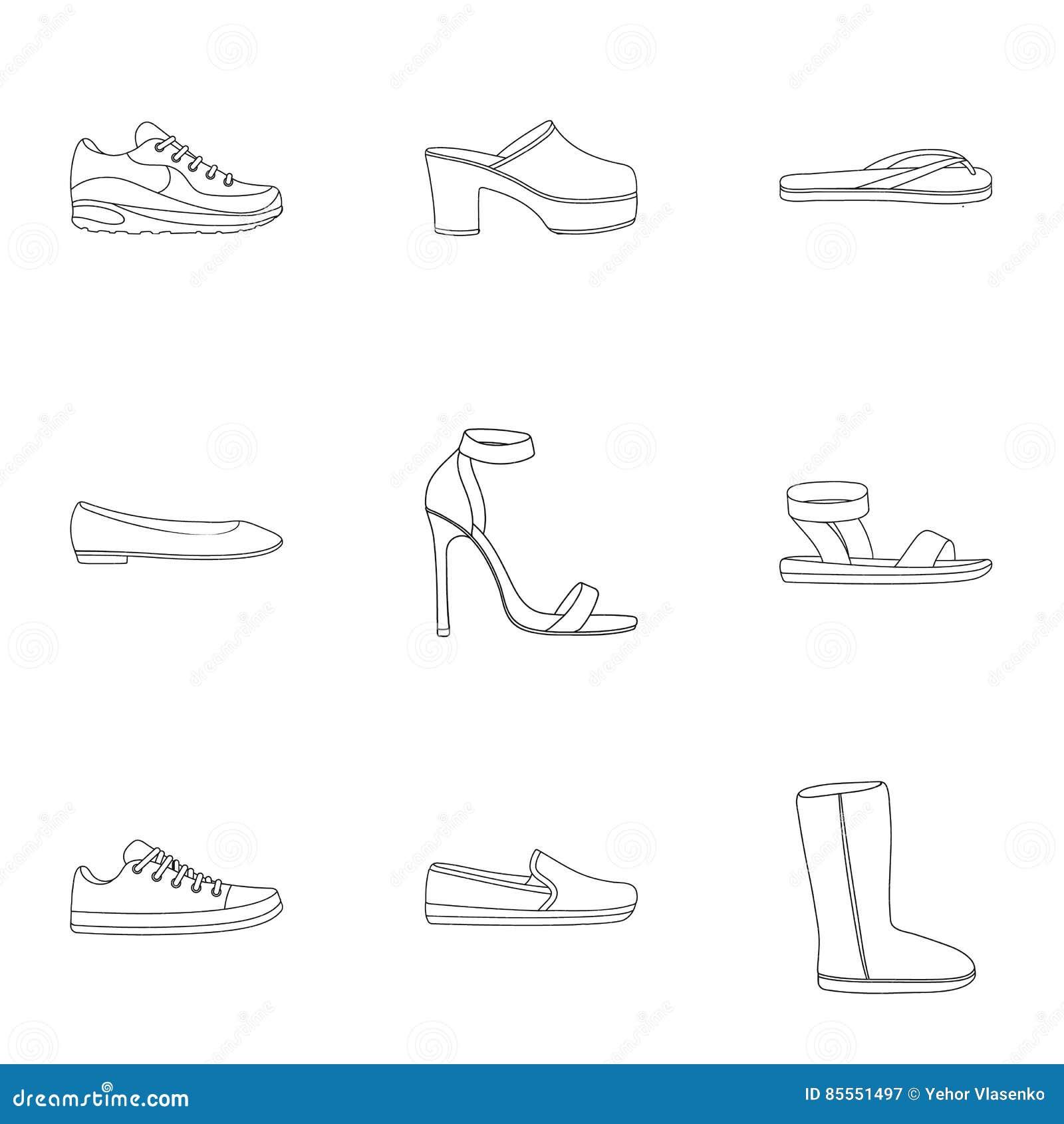 Schuhe stellten Ikonen in der Entwurfsart ein Große Sammlung der Schuhillustration