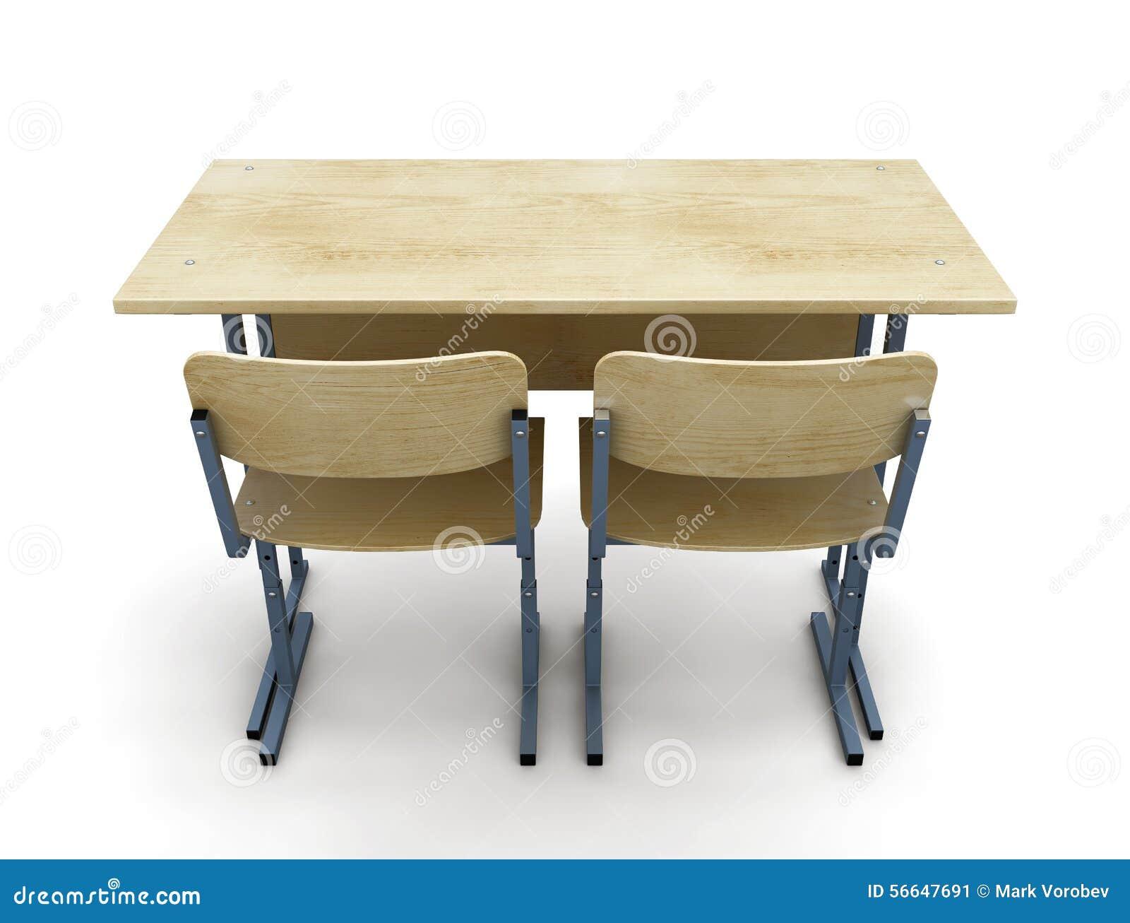 Schulbank zeichnung  Schulbank Mit Zwei Stühlen Auf Einem Weiß Stock Abbildung - Bild ...