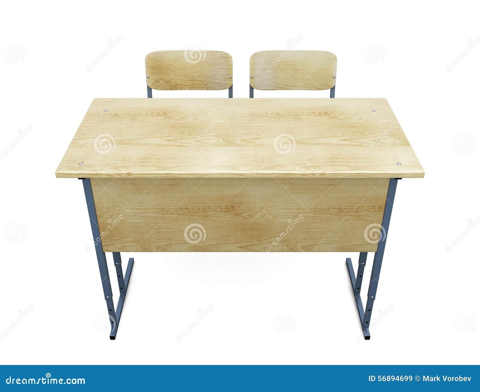 schulbank mit zwei st hlen auf einem wei stock abbildung bild 56894699. Black Bedroom Furniture Sets. Home Design Ideas