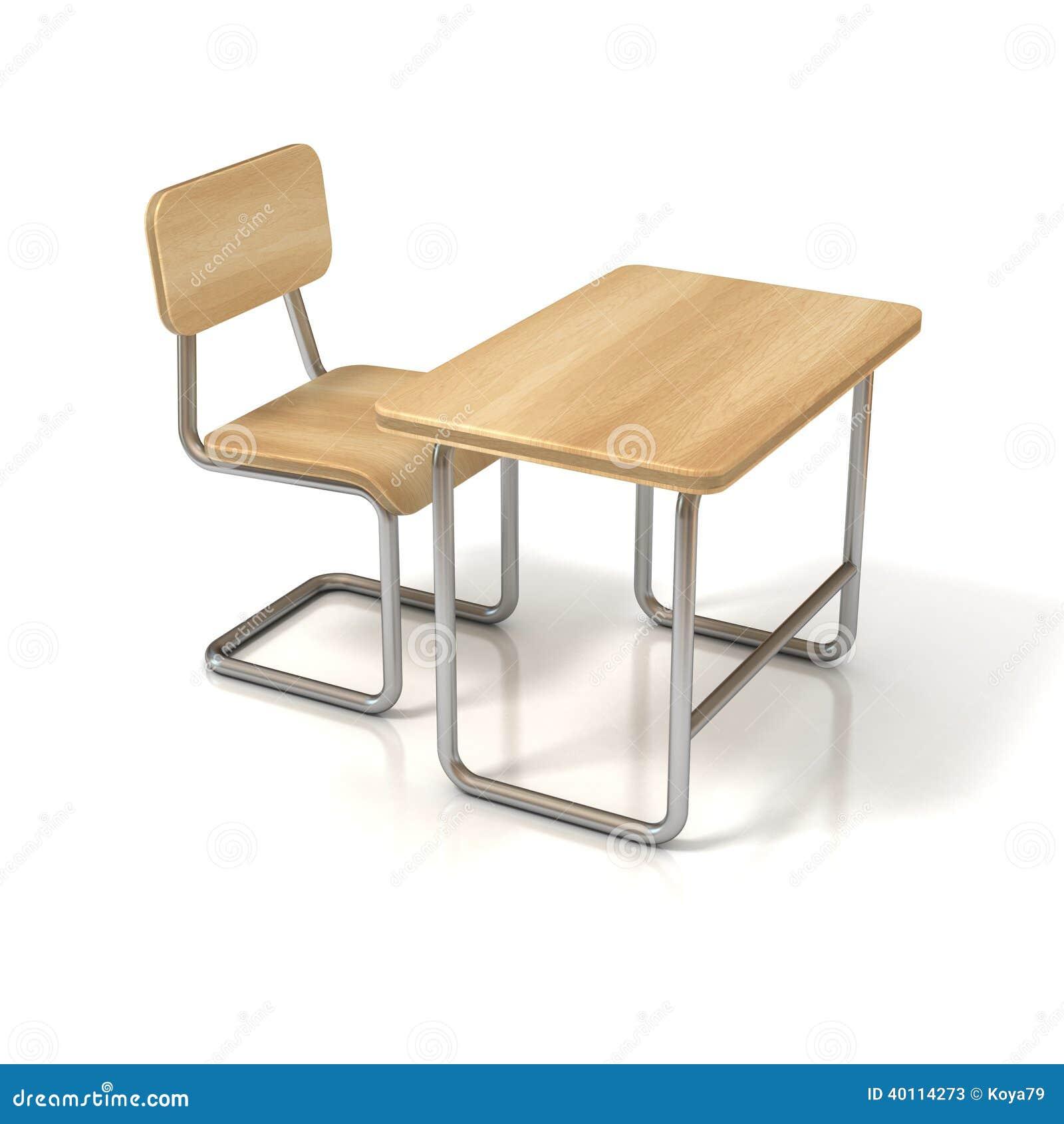 Schulbank zeichnung  Schulbank Und Stuhl Auf Weiß Stock Abbildung - Bild: 40114273