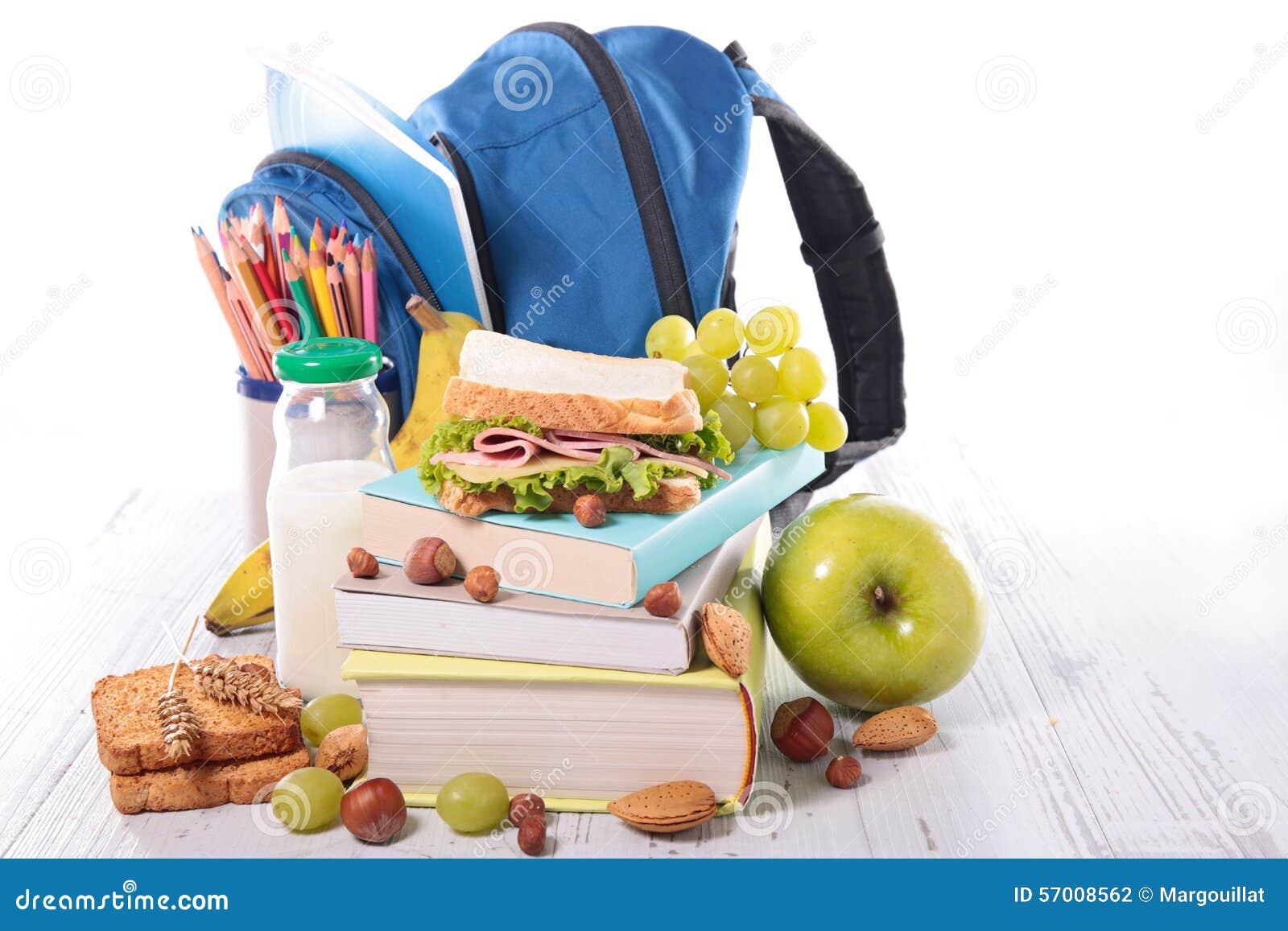 Schulbedarf und gesundes Lebensmittel