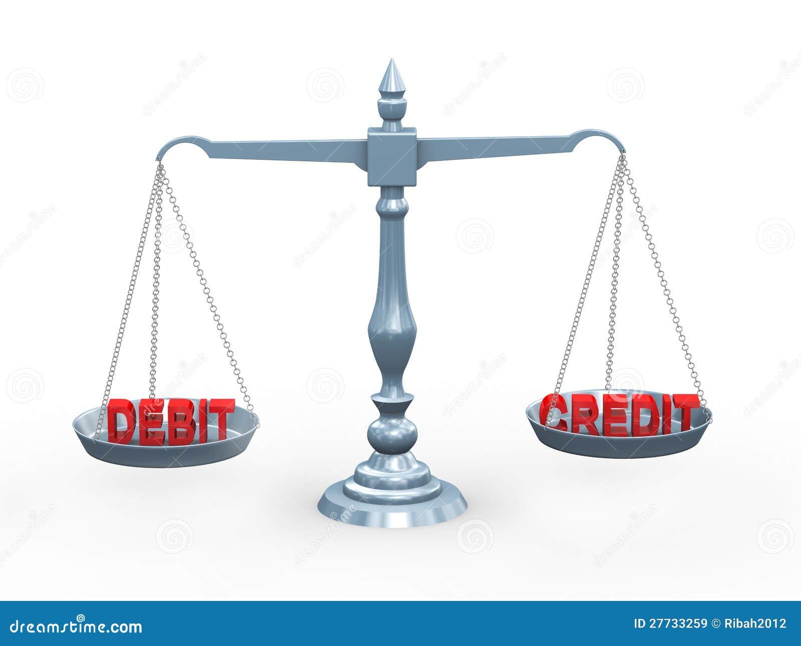 Schuldposten und Gutschrift des Wortes 3d auf Skala