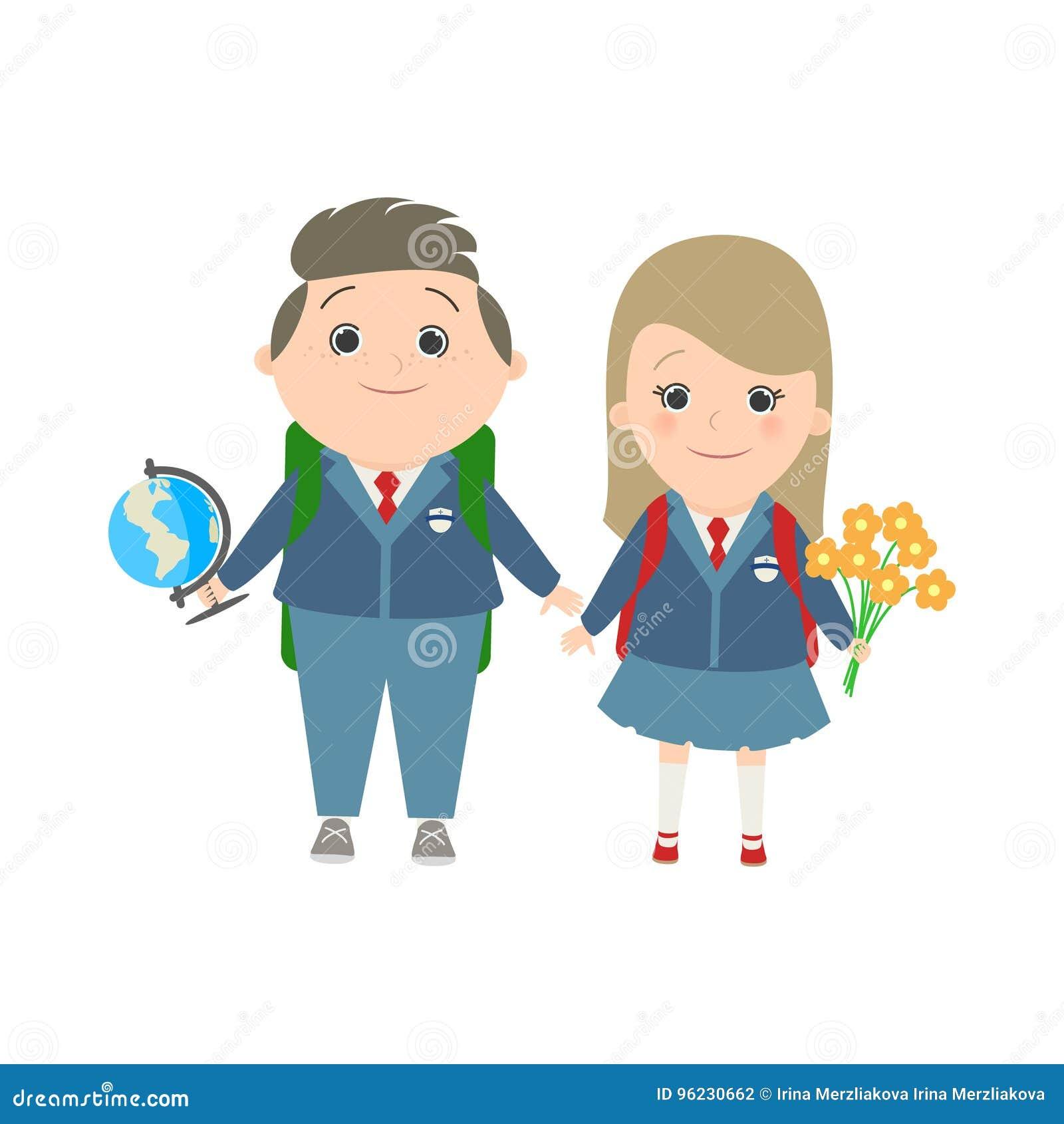 Schule, ein Paar Kinder in den Schuluniformen, kaukasisch Vektor