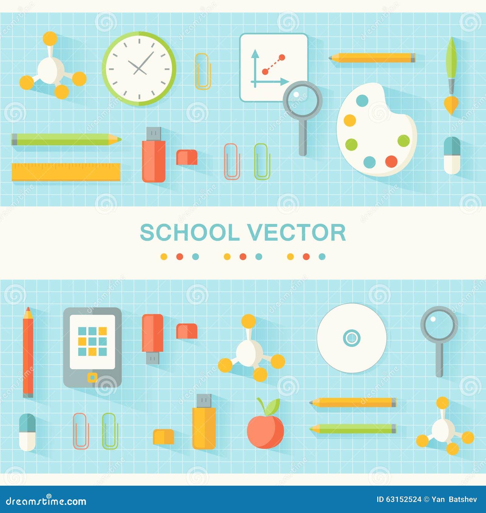 Schule und bildungs flaches design plakat vektor abbildung for Design schule