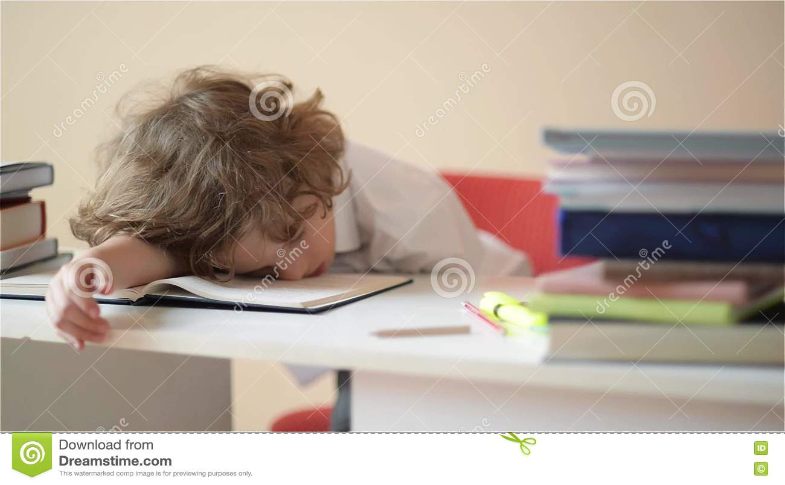 Schulkind Tun Hausarbeit Der Junge Tut Seine Hausarbeit Zu Hause ...