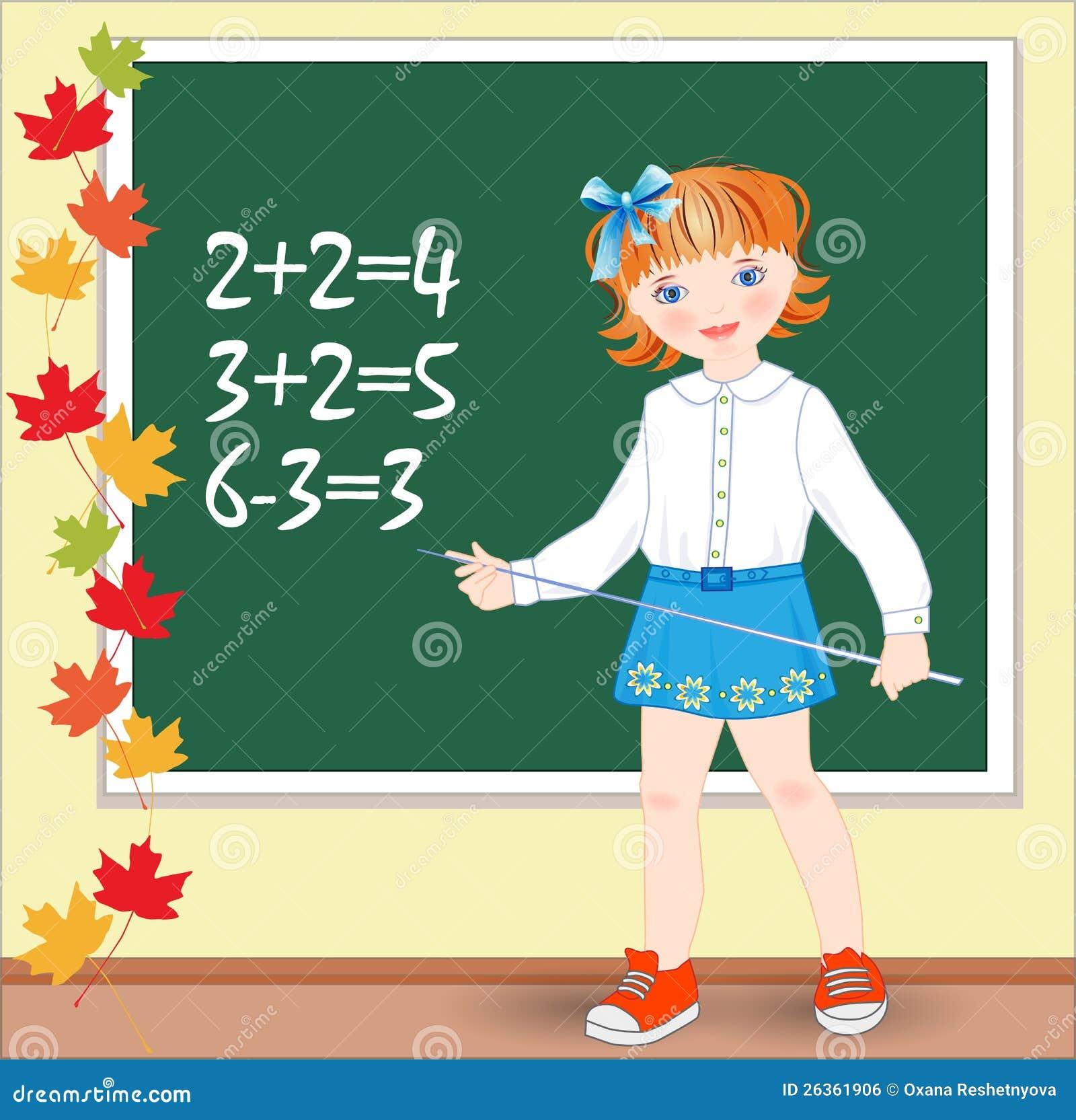 Schulmädchen auf der Lektion von Mathematik.