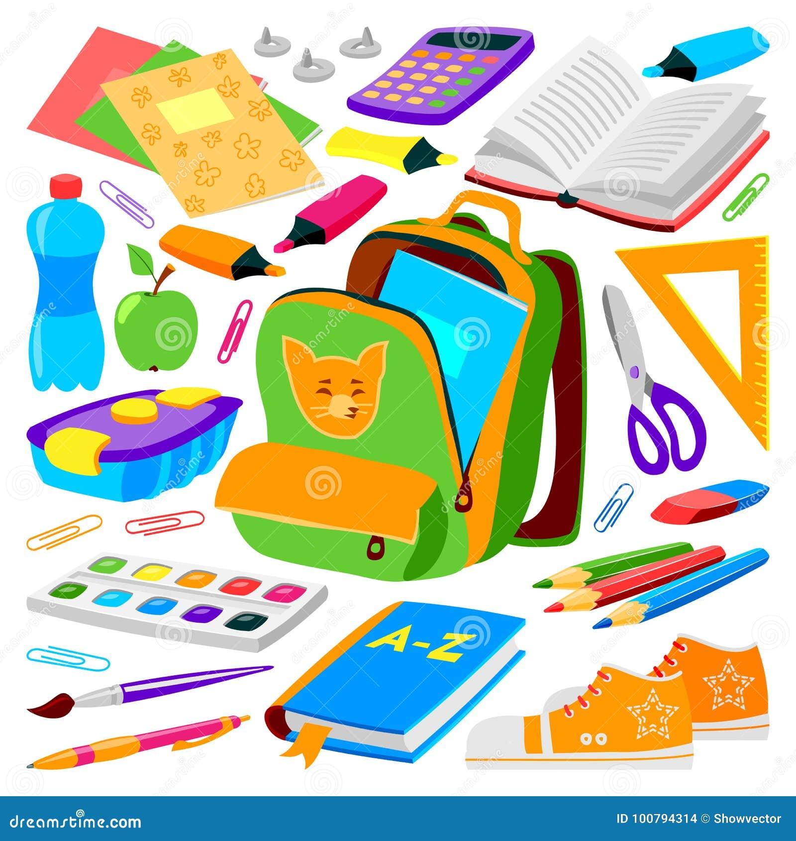 Schultascherucksack voll Sack-Vektorillustration des Versorgungskinderstationären Reißverschlusses der pädagogischen