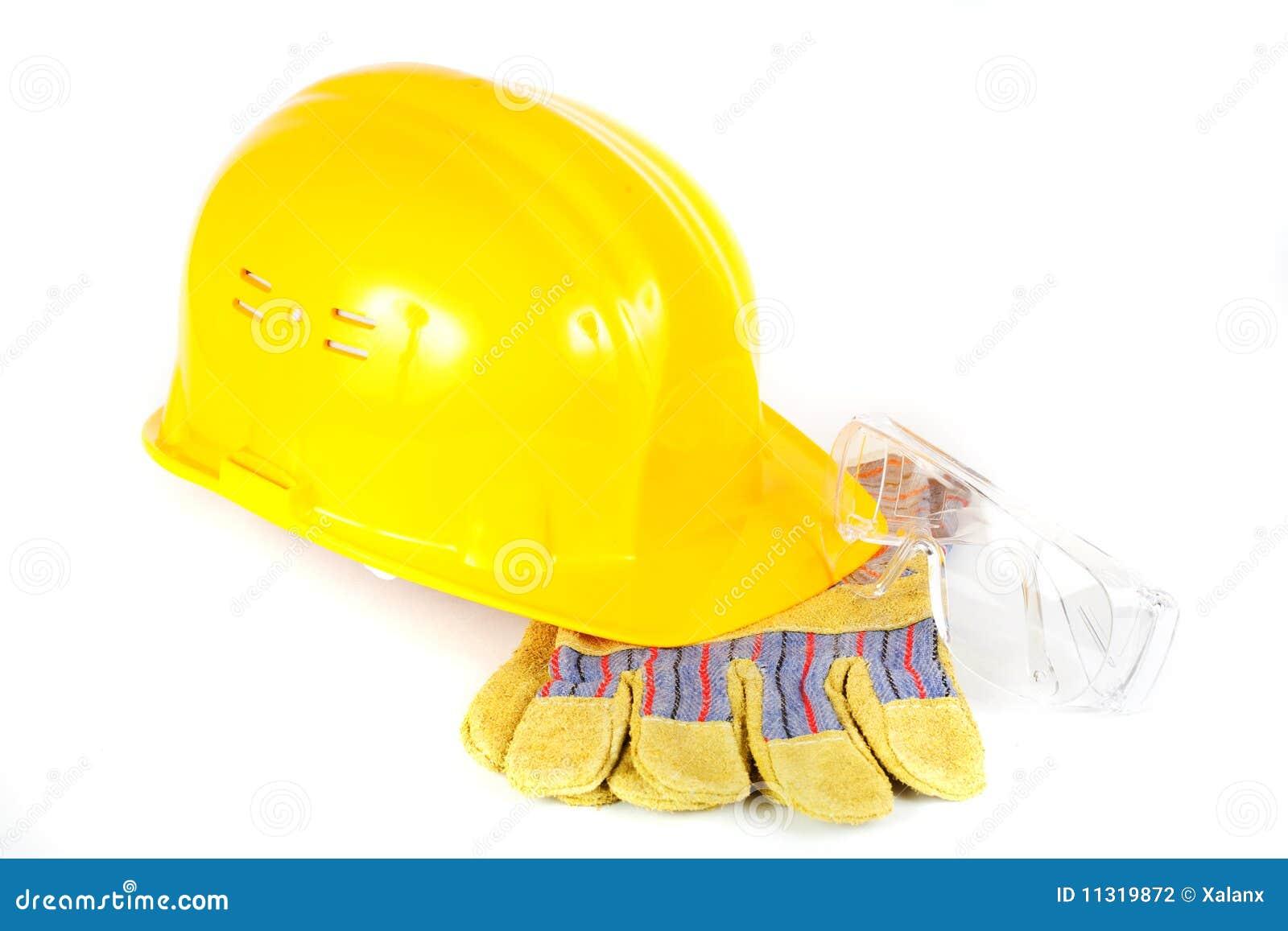 Schutzsturzhelm, -handschuhe und -gläser