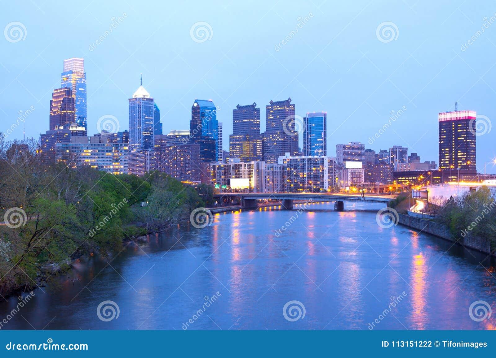 Schuylkill River and city skyline of Philadelphia