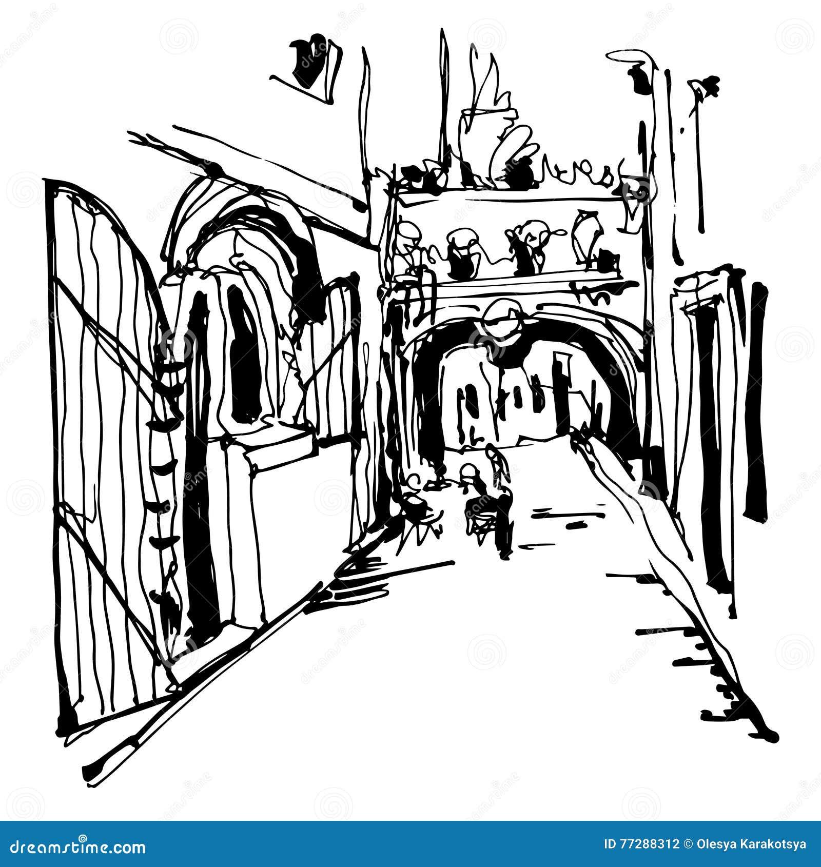 Schwärzen Sie das Skizzieren der historischen schmalen Pflasterstraße in Budva mit Tinte