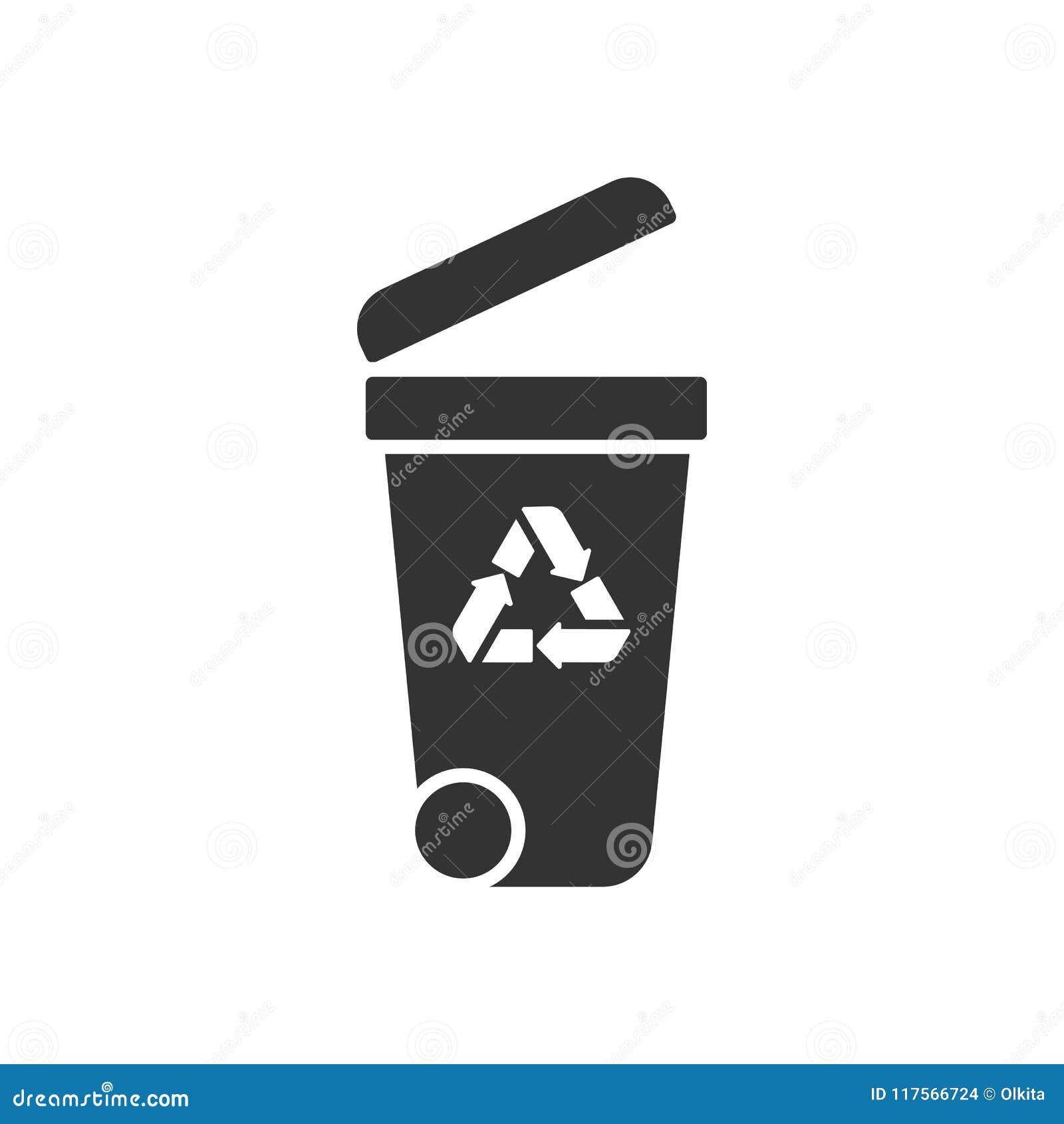 Schwärzen Sie lokalisierte Ikone des Behälters auf weißem Hintergrund Schattenbild des Behälters für Abfall