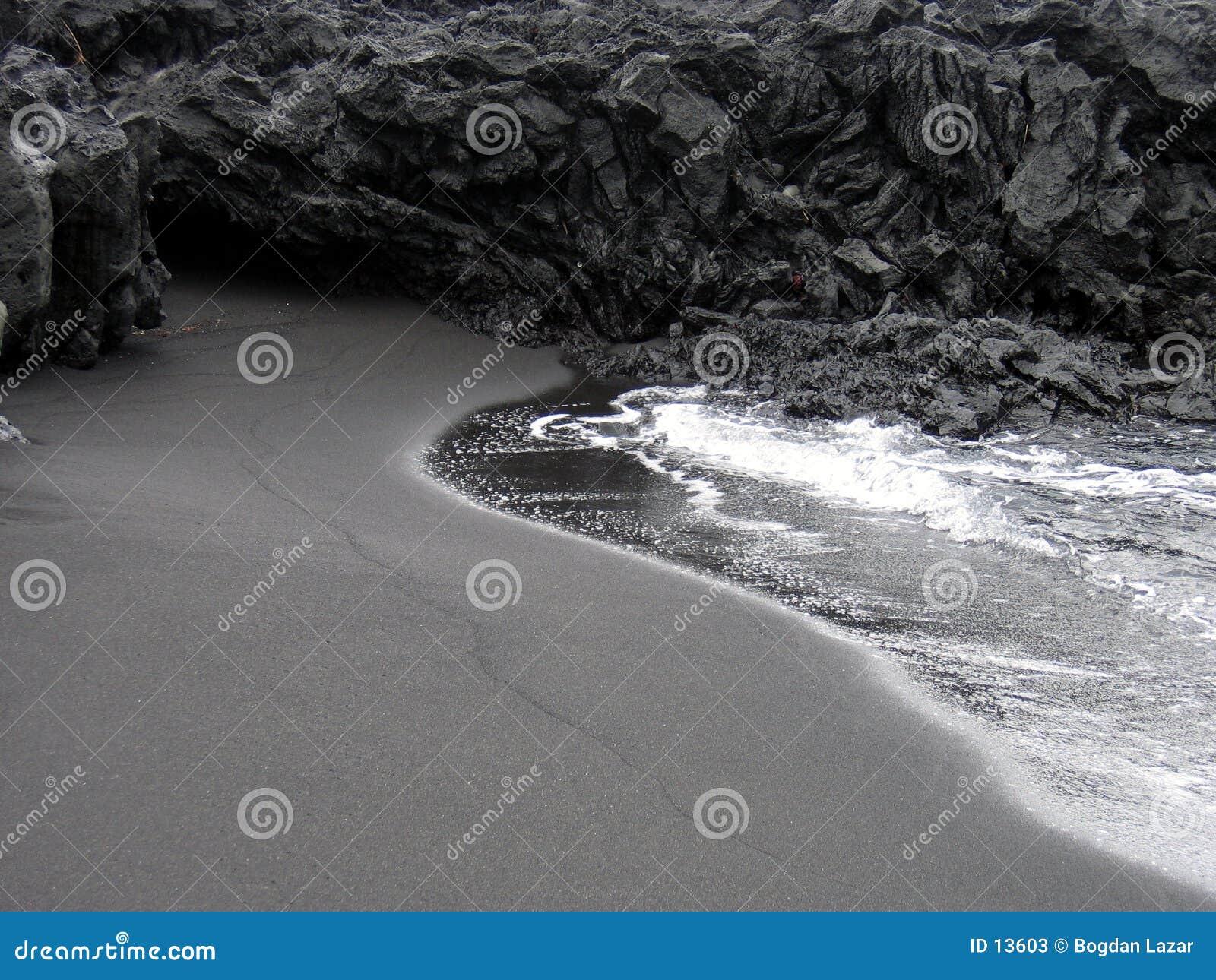 Schwärzen Sie Strand