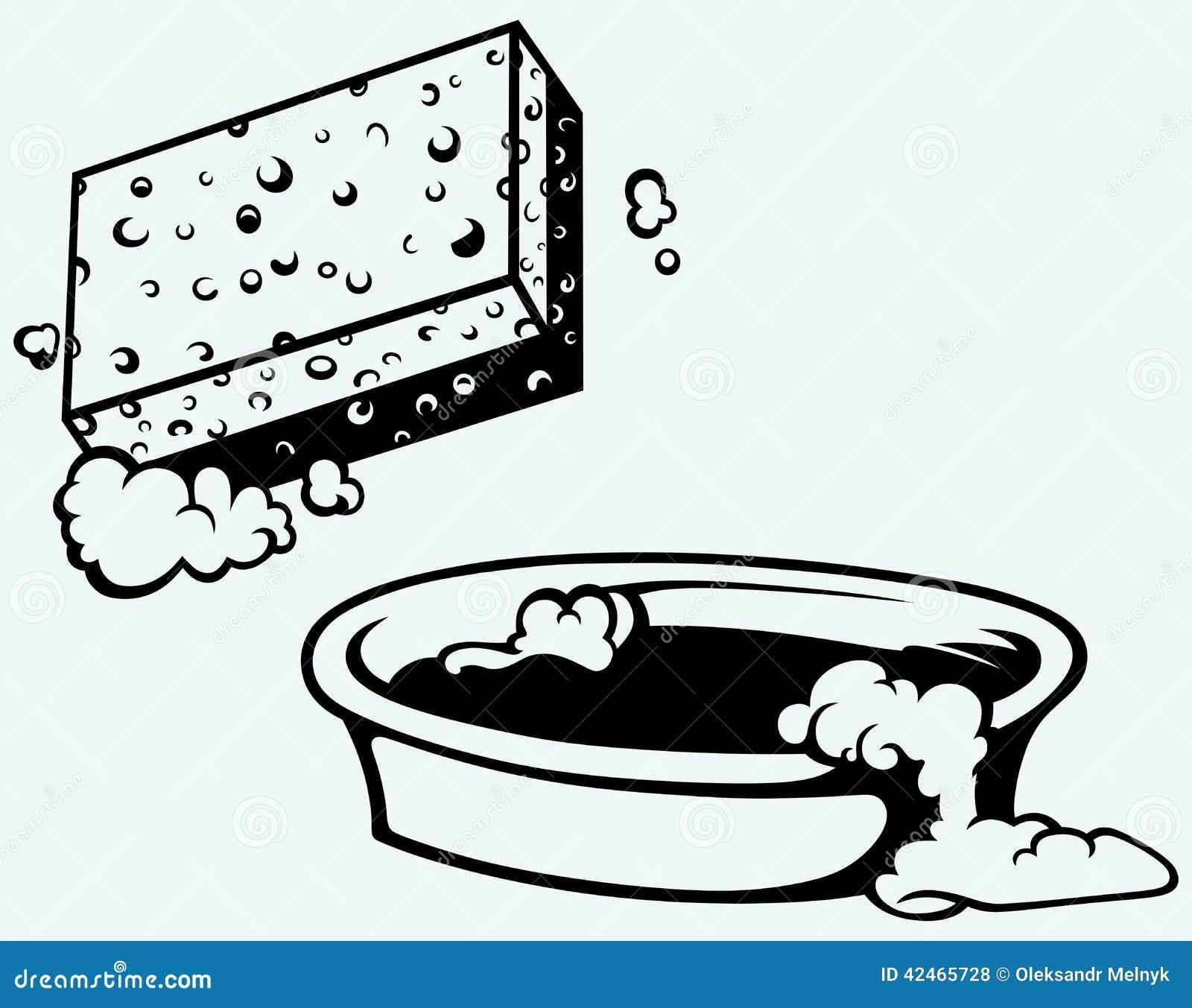 Schwamm und Schüssel Wasser