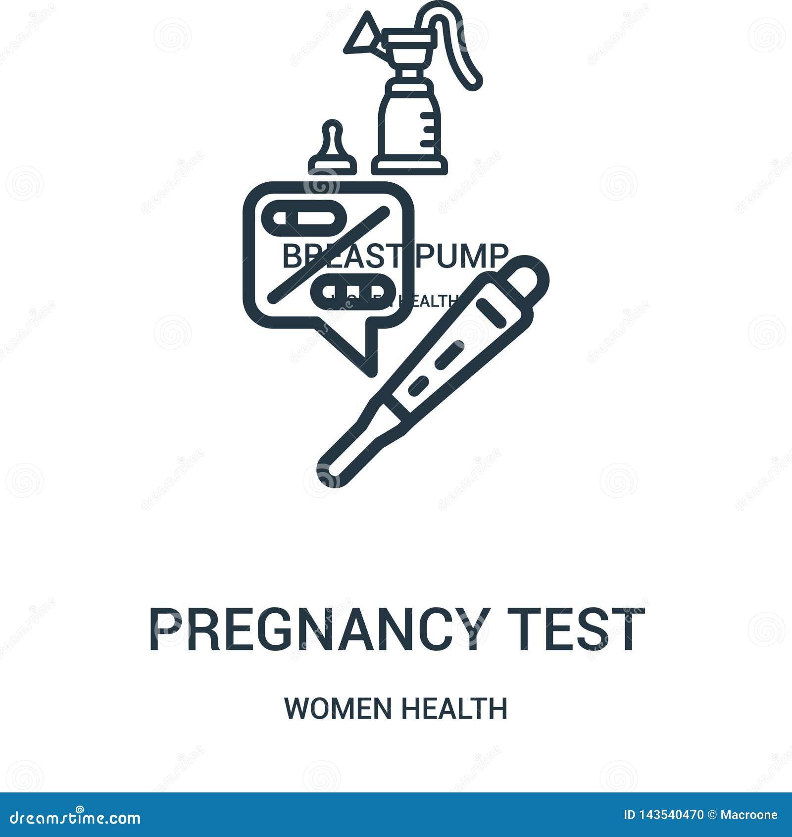 Schwangerschaftstestikonenvektor von der Frauengesundheitssammlung D?nne Linie Schwangerschaftstestentwurfsikonen-Vektorillustrat