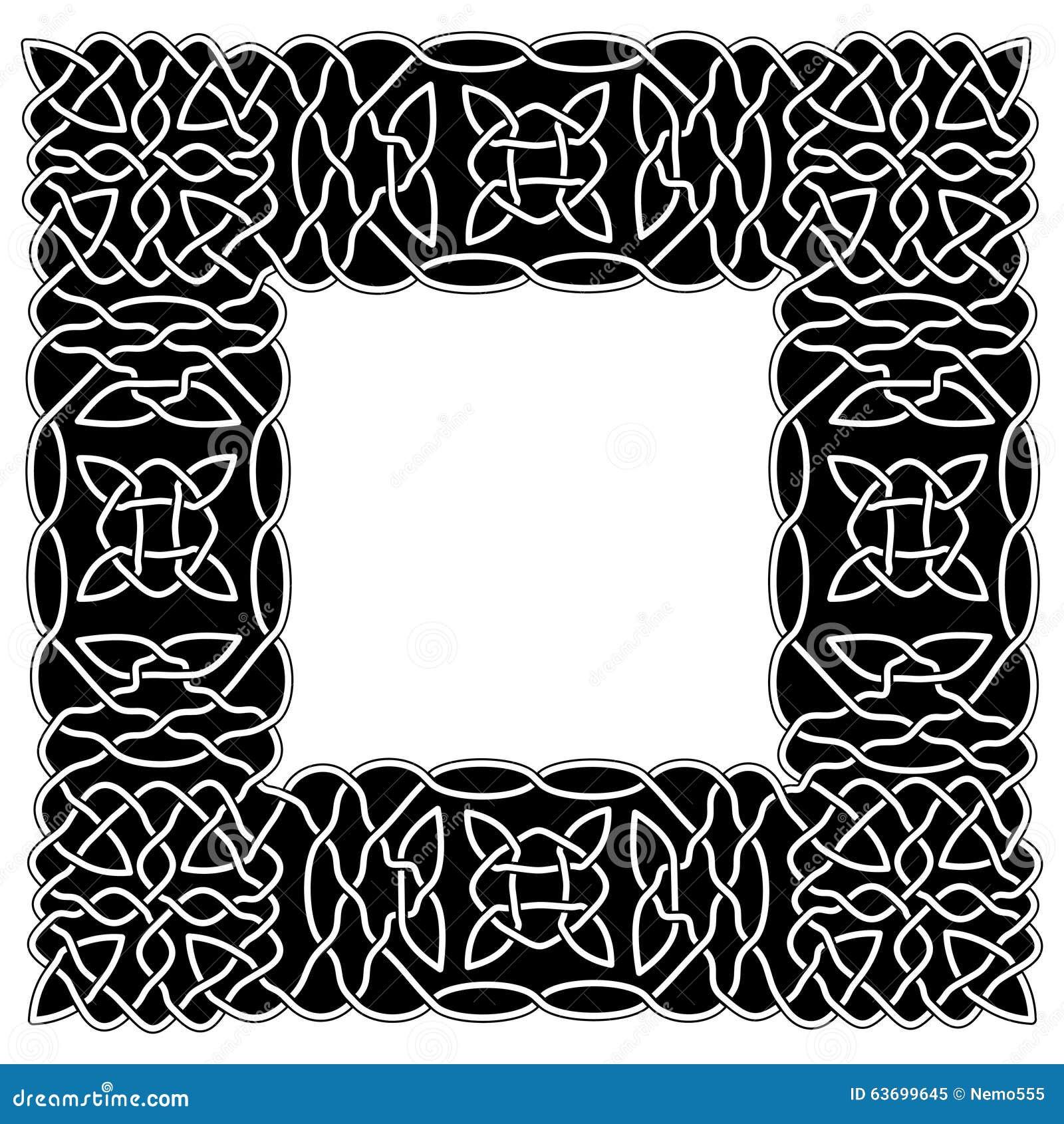 Schwarz- Weiße Grenzkeltische Oder Arabische Art In Form Von Rahmen ...