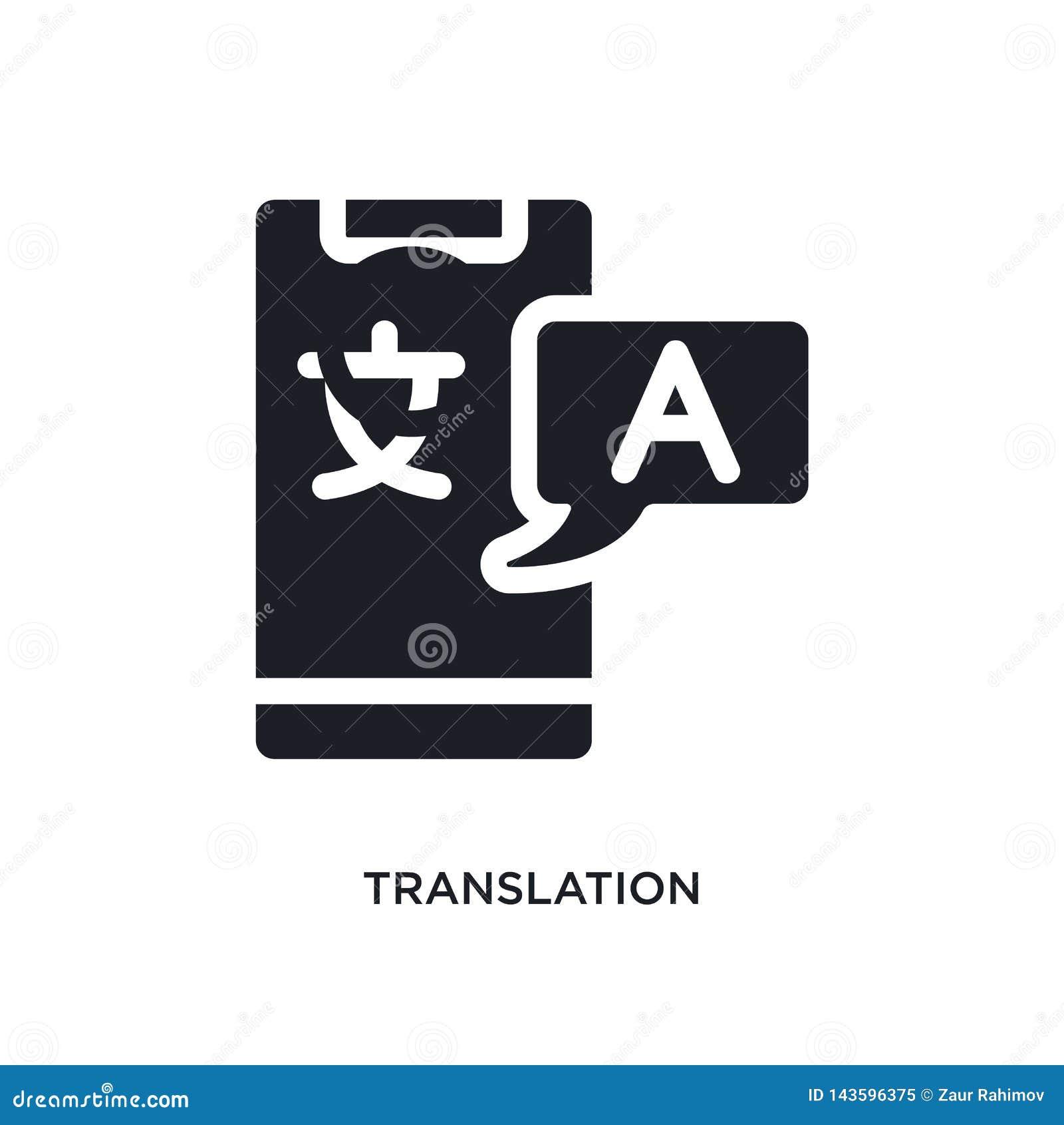 Schwarze Übersetzung lokalisierte Vektorikone einfache Elementillustration von den Konzeptvektorikonen der künstlichen Intelligen