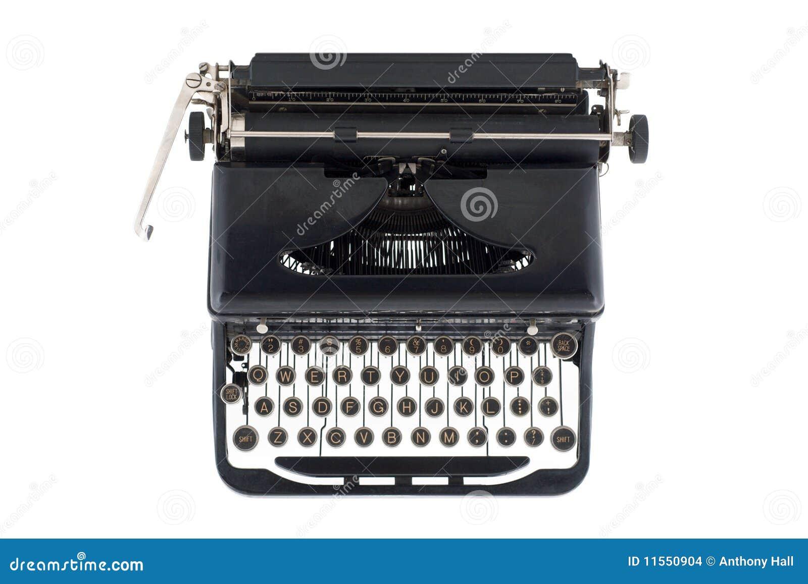Schwarze antike Schreibmaschine von oben