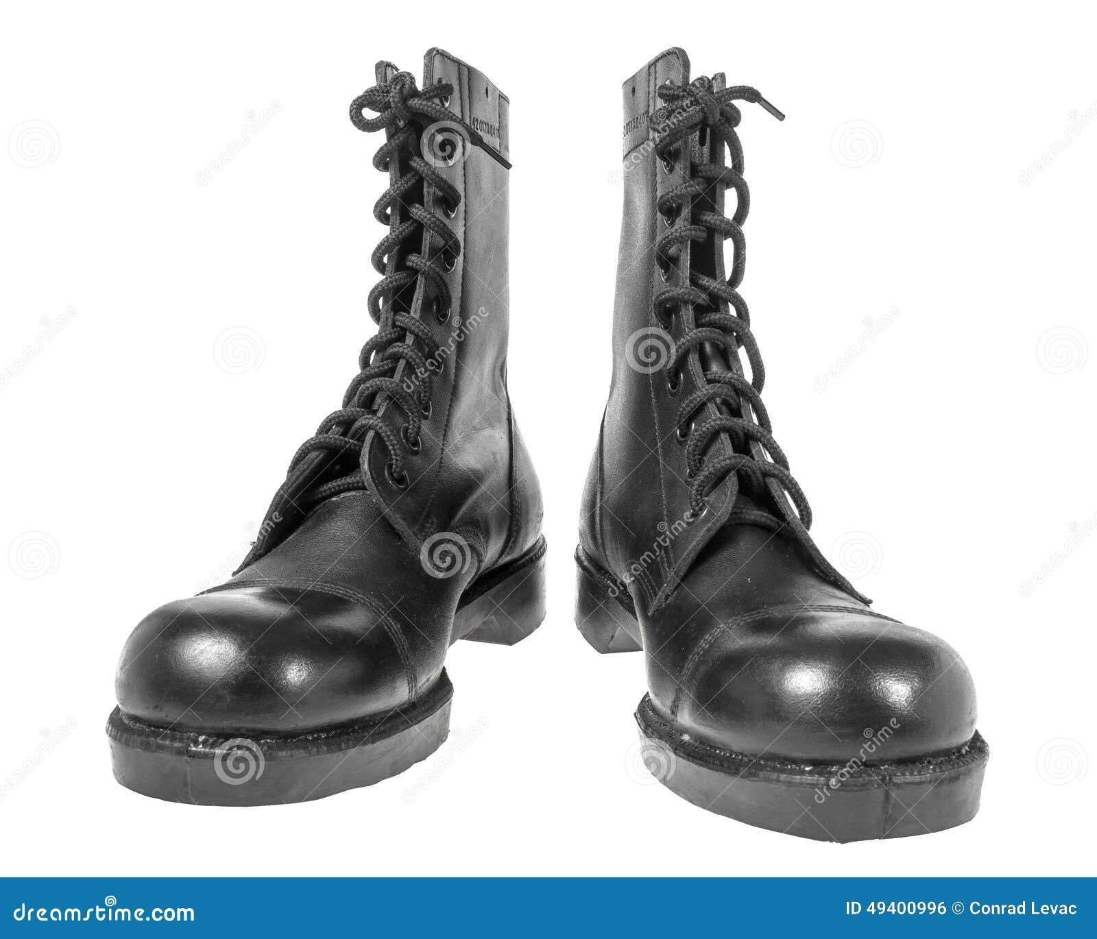 Download Schwarze Armeestiefel Lokalisiert Auf Weiß Stockfoto - Bild von fußbekleidung, matte: 49400996