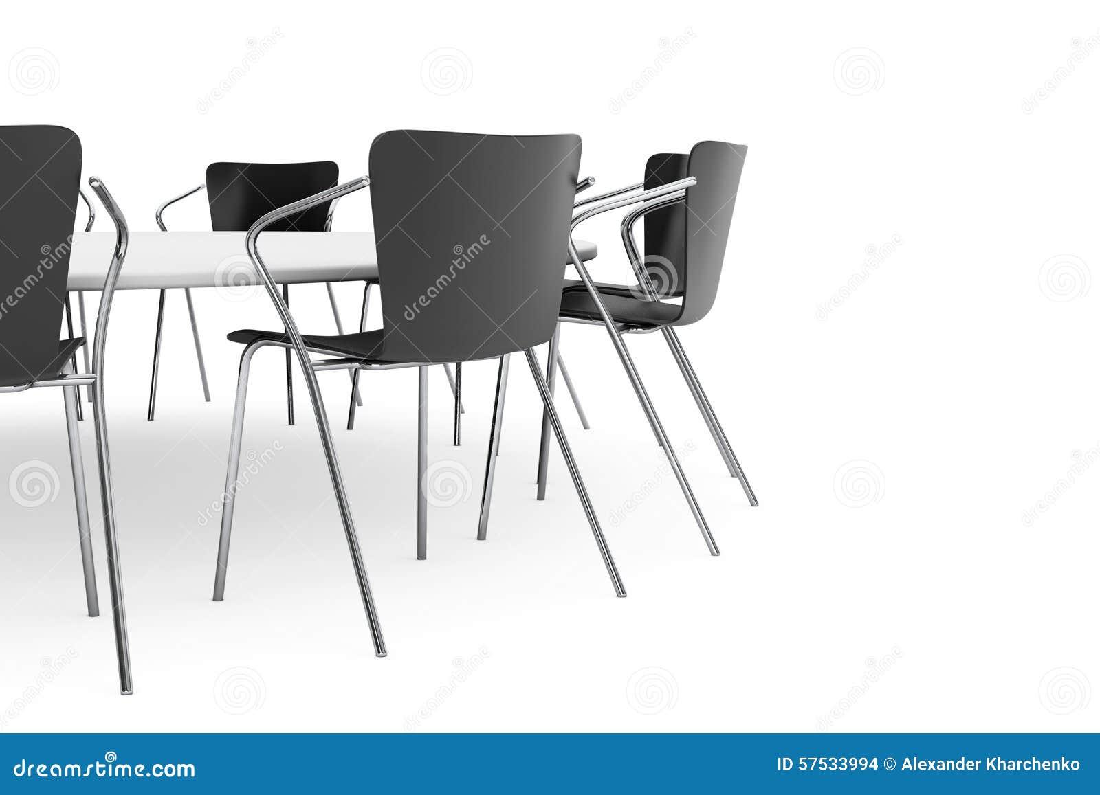 Schwarze Büro-Stühle Und Konferenz-Rundtisch Stock Abbildung ...