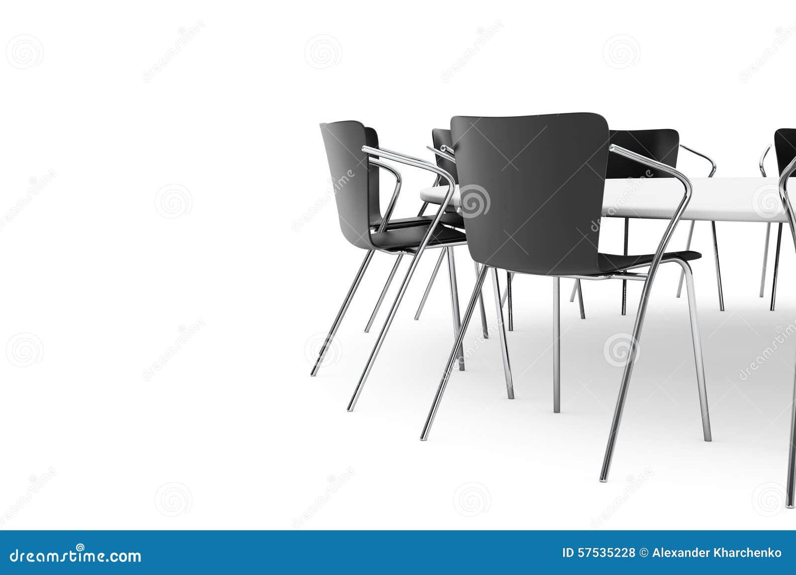 Schwarze Büro-Stühle Und Konferenz-Rundtisch Stockfoto - Bild von ...