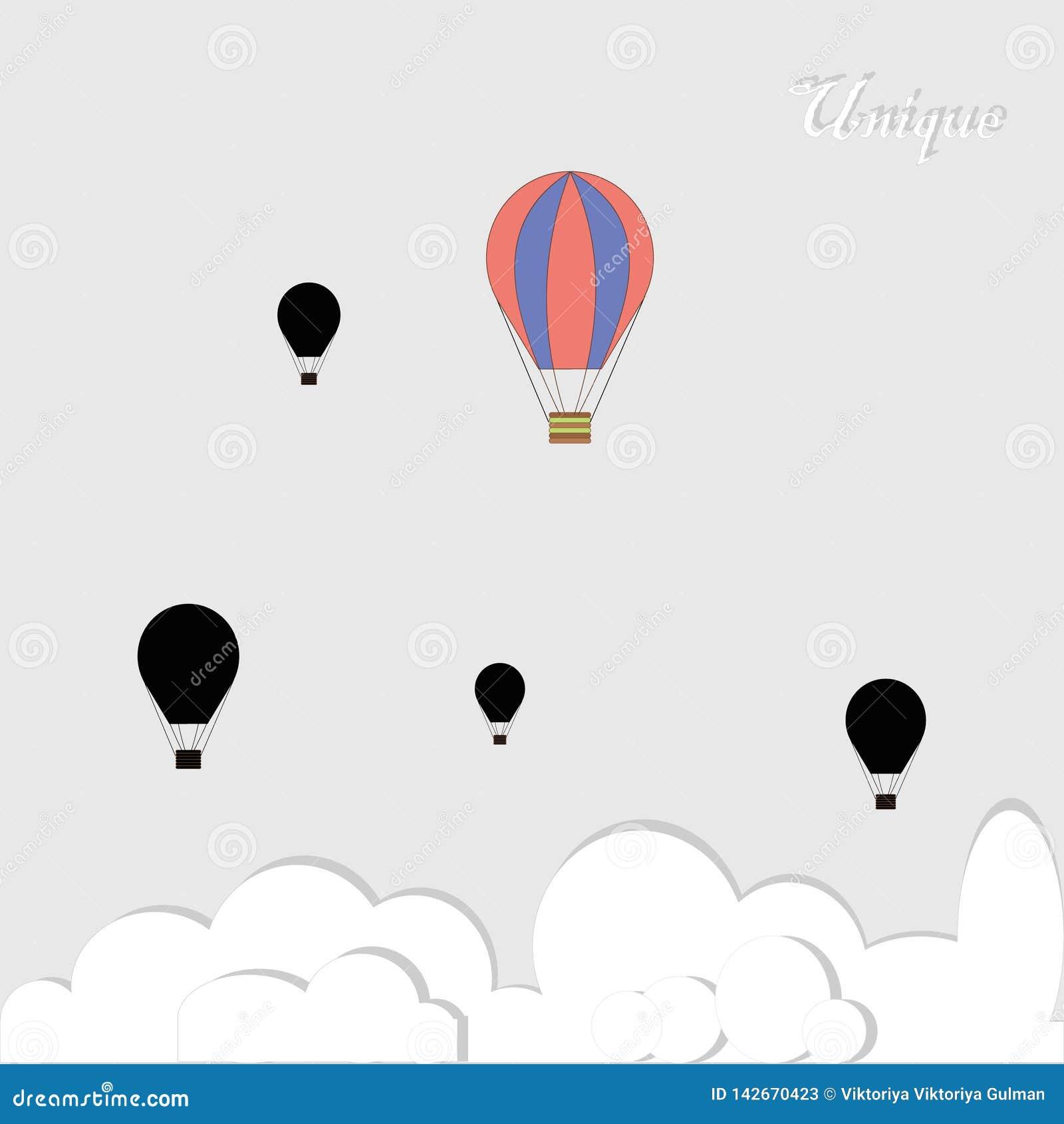 Schwarze baloons und eins bunt in Konkurrenz auf grauem Hintergrund