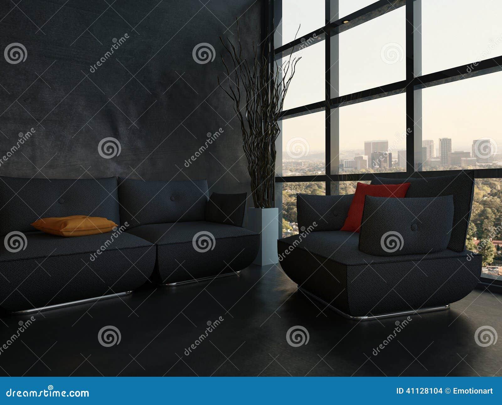Schwarze Couch Mit Bunten Kissen Gegen Holzerne Wand Stock Abbildung