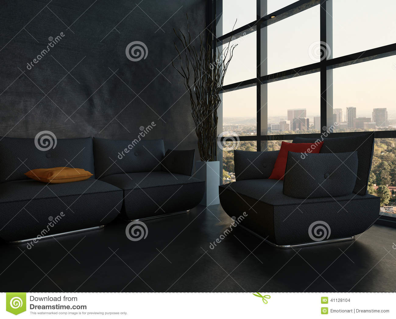 schwarze couch mit bunten kissen gegen h lzerne wand stock abbildung bild 41128104. Black Bedroom Furniture Sets. Home Design Ideas