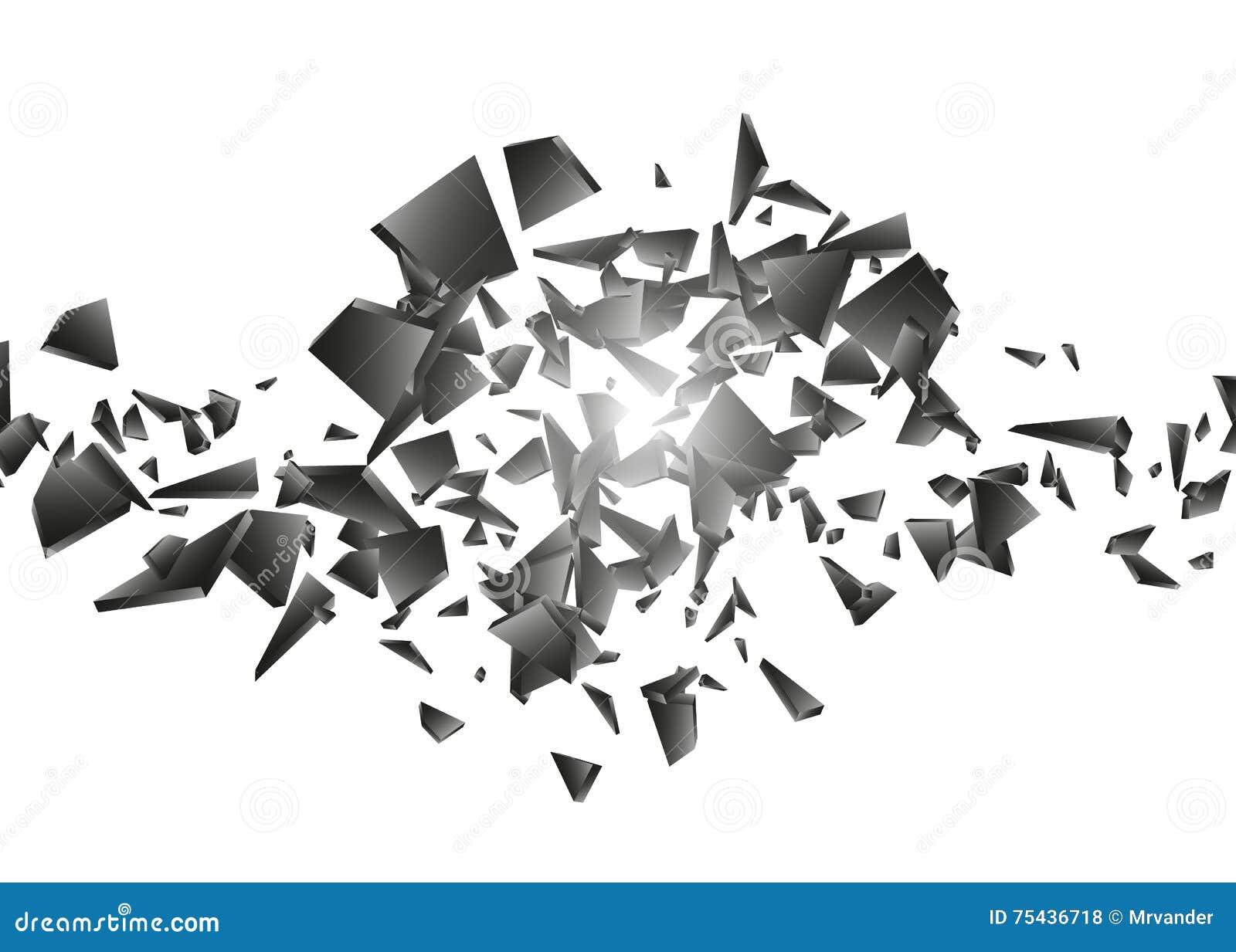 Schwarze Explosion auf weißem Hintergrund Explosionswolke von schwarzen Stücken abstrakte Vektorillustration