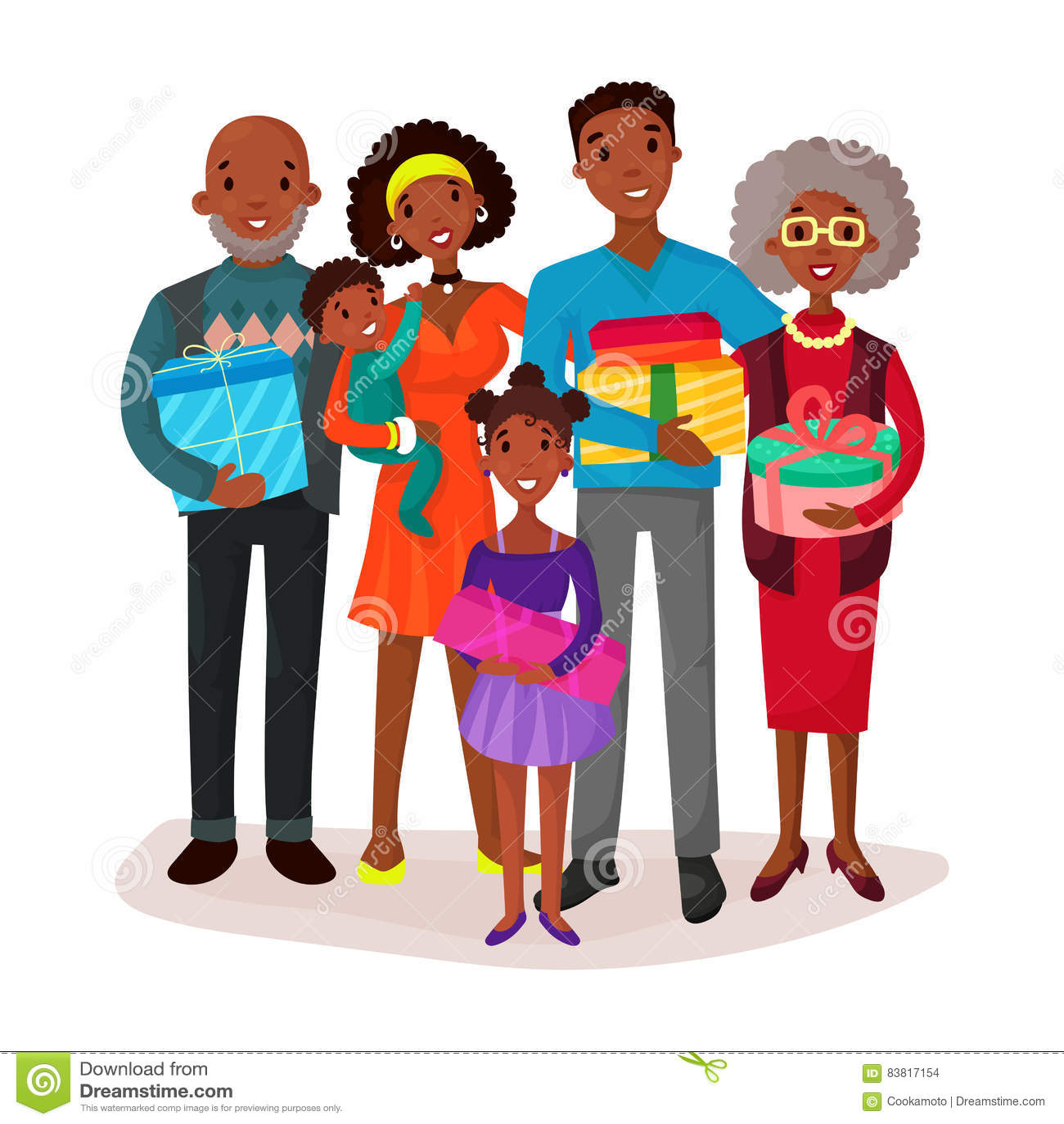 Schwarze Familie, Die Kinder Und Geschenke Oder Geschenk Hält Vektor ...