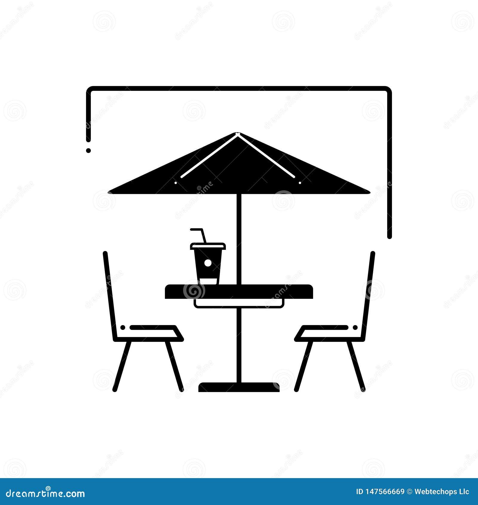 Schwarze feste Ikone für Café, Cafeteria und Straße im Freien