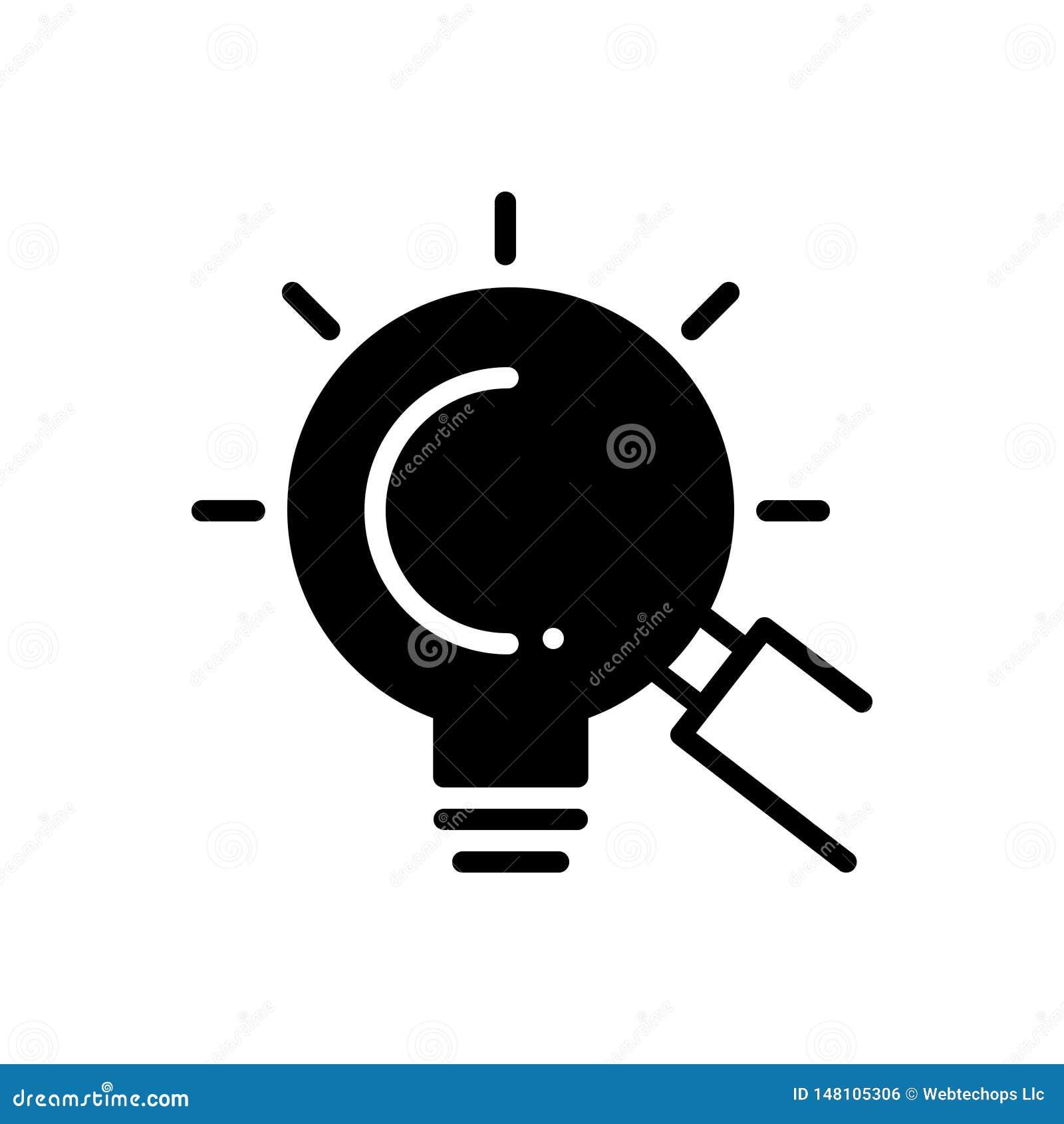 Schwarze feste Ikone für Lupe, das Schauen und die Gelegenheiten
