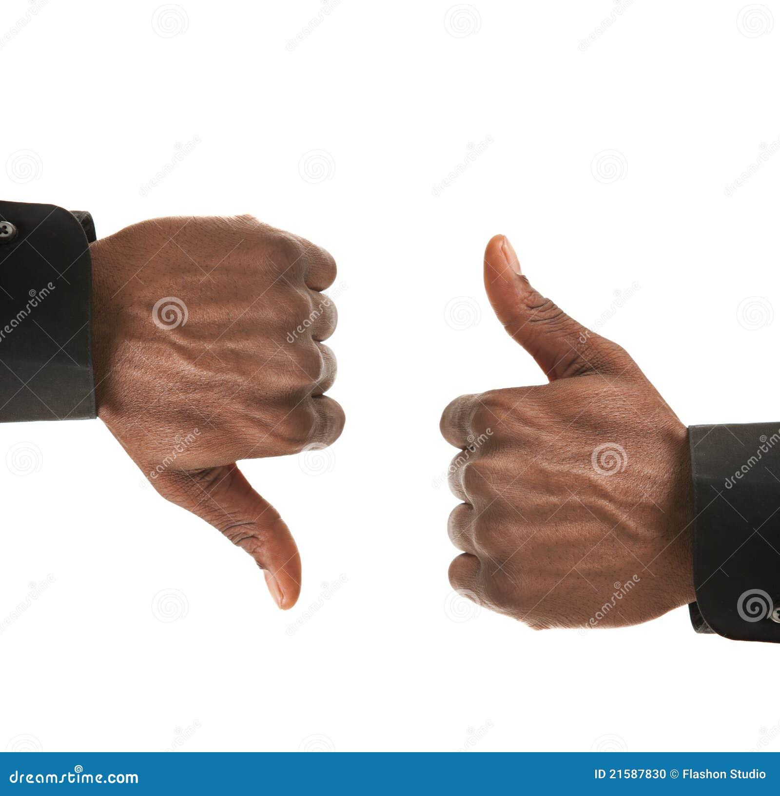 Schwarze Geschäftsmann-Handgeste oben unten