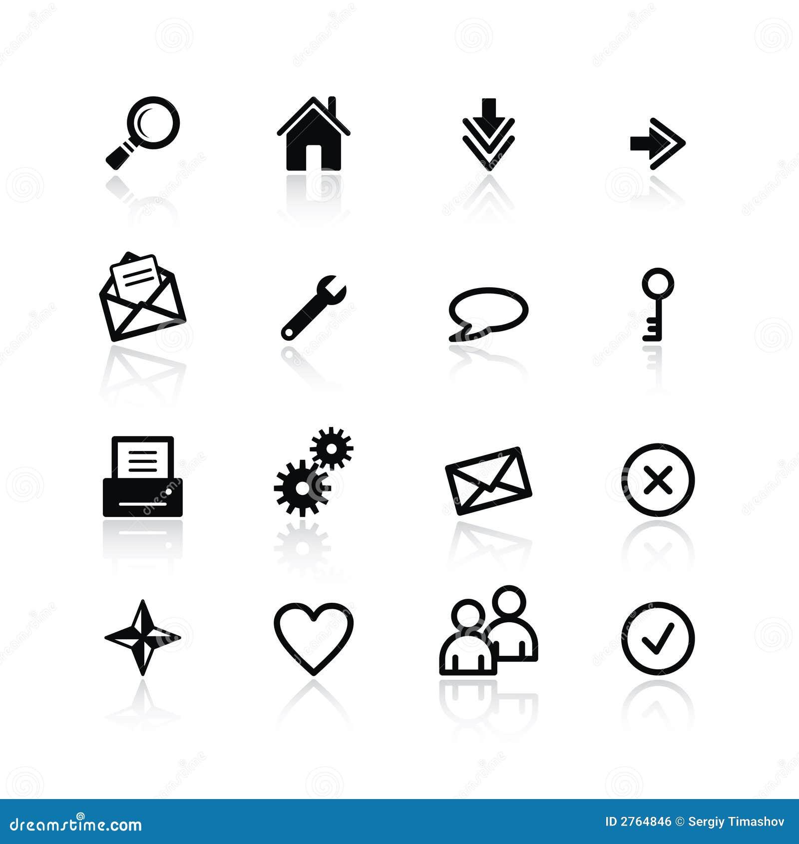 Schwarze grundlegende Web-Ikonen