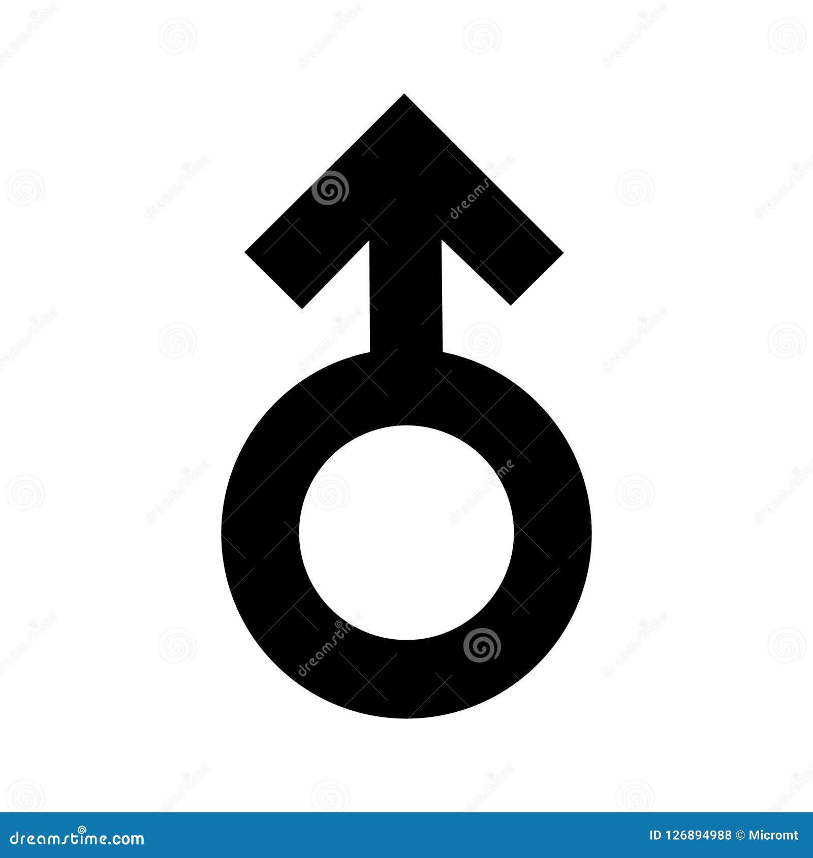 Schwarze Ikone der Geschlechtsmann-Zeichen Eine sexuelle Verbindung des Symbols Flache Art für Grafikdesign, Logo Viel Ruß Eine g