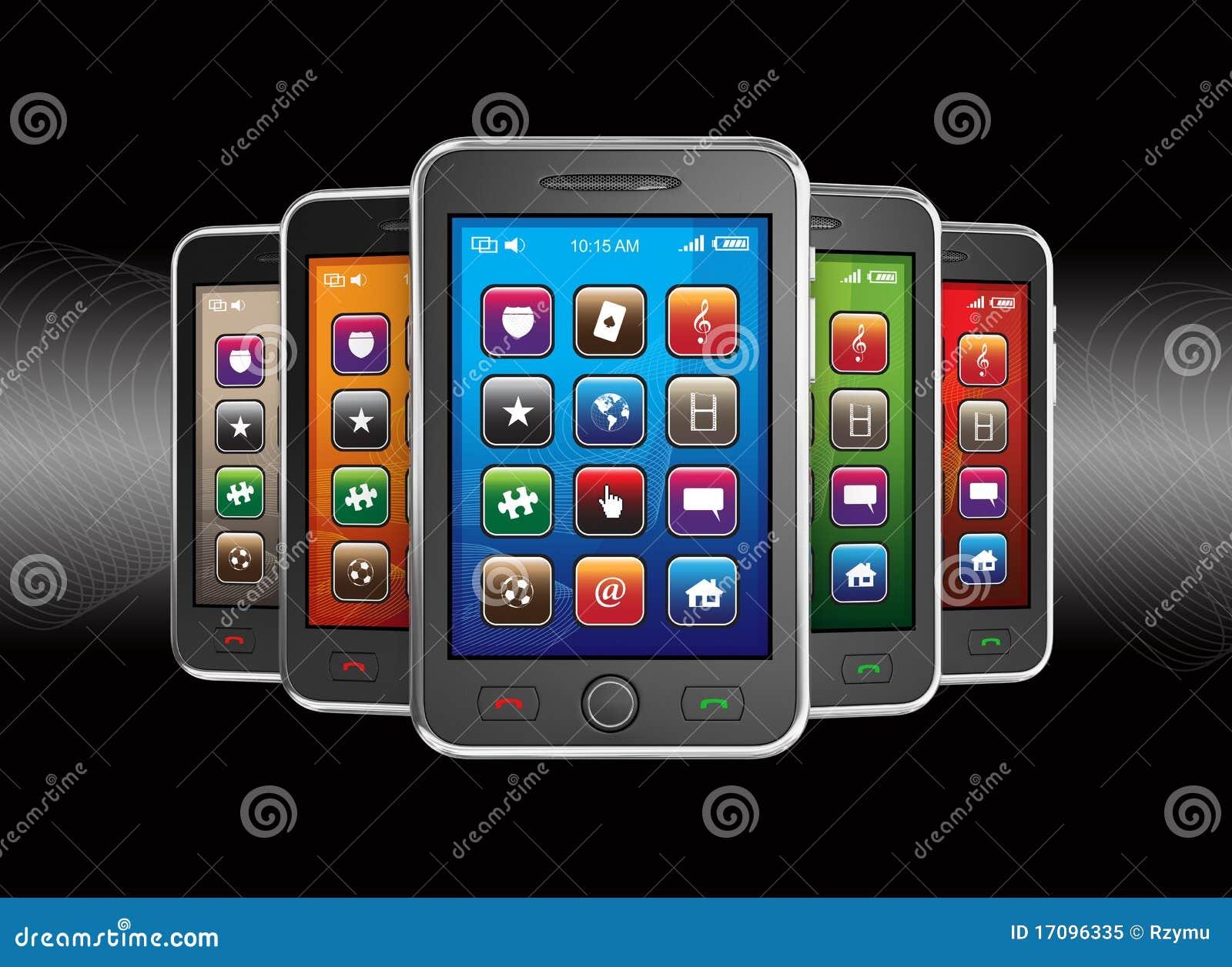 Schwarze intelligente Mobiltelefone