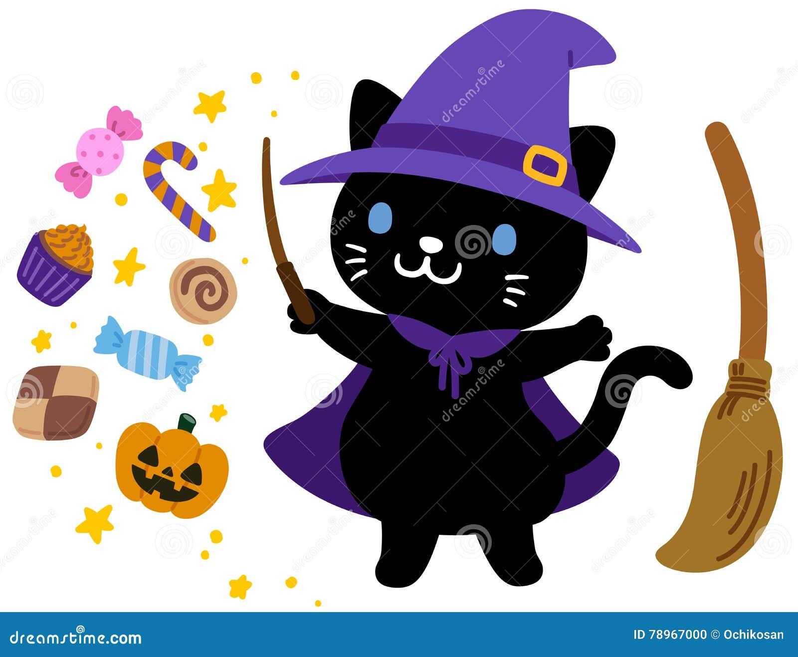 schwarze katze halloween der netten hexe stock abbildung illustration von kuchen mantel 78967000. Black Bedroom Furniture Sets. Home Design Ideas