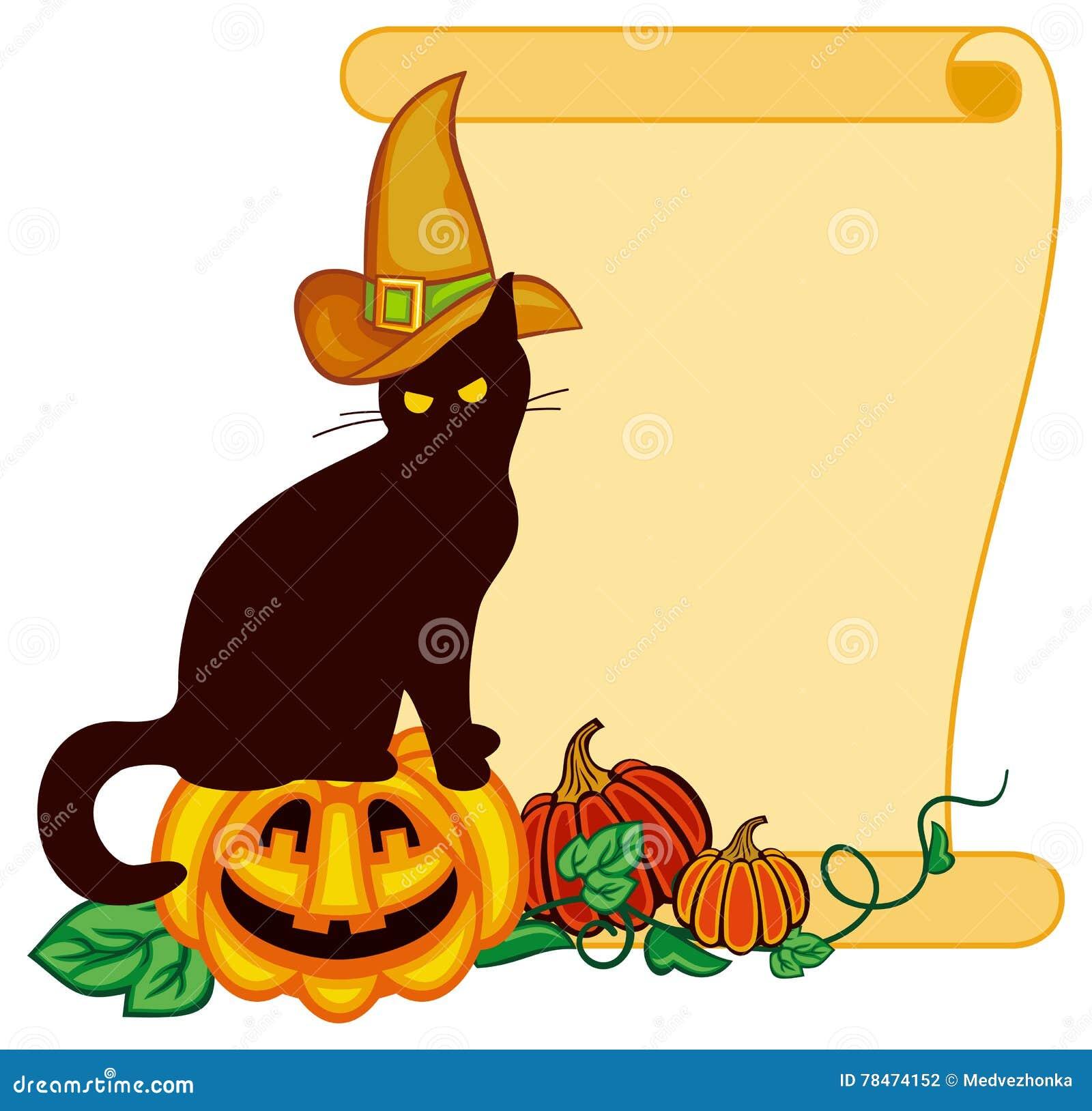 Schwarze Katze Im Hexenhut Und In Halloween Kürbis Stock Abbildung