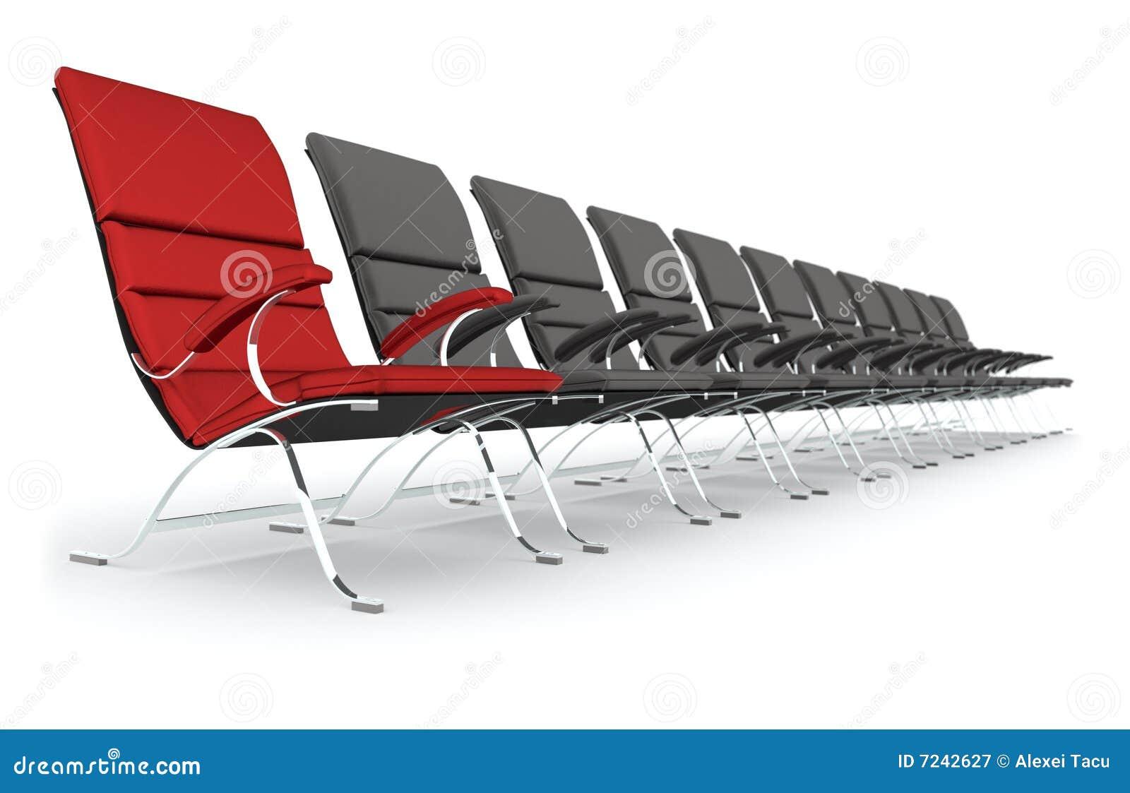 schwarze lederne st hle mit der roten stuhlf hrung. Black Bedroom Furniture Sets. Home Design Ideas