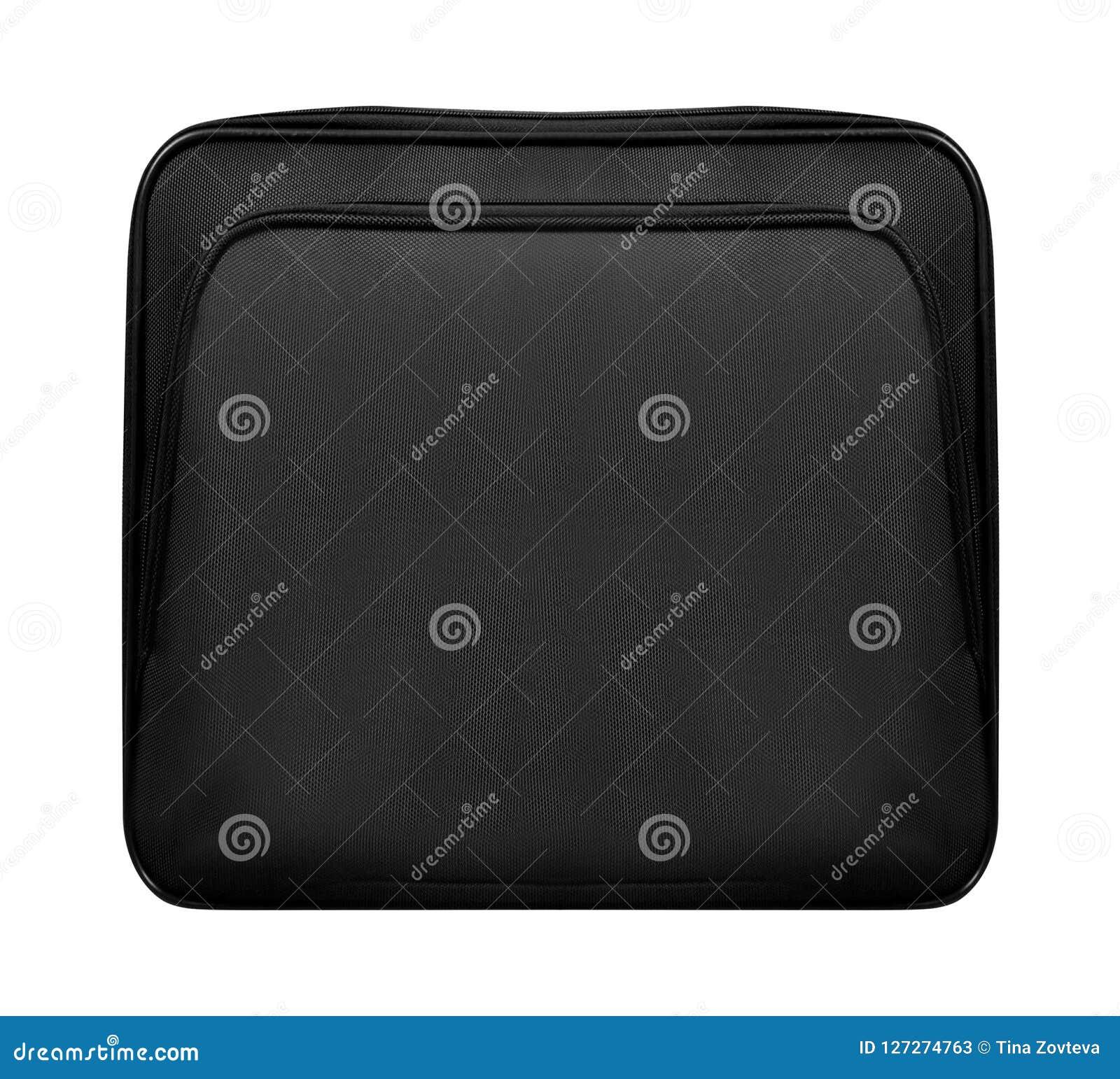 Schwarze Ledertasche für den Laptop lokalisiert
