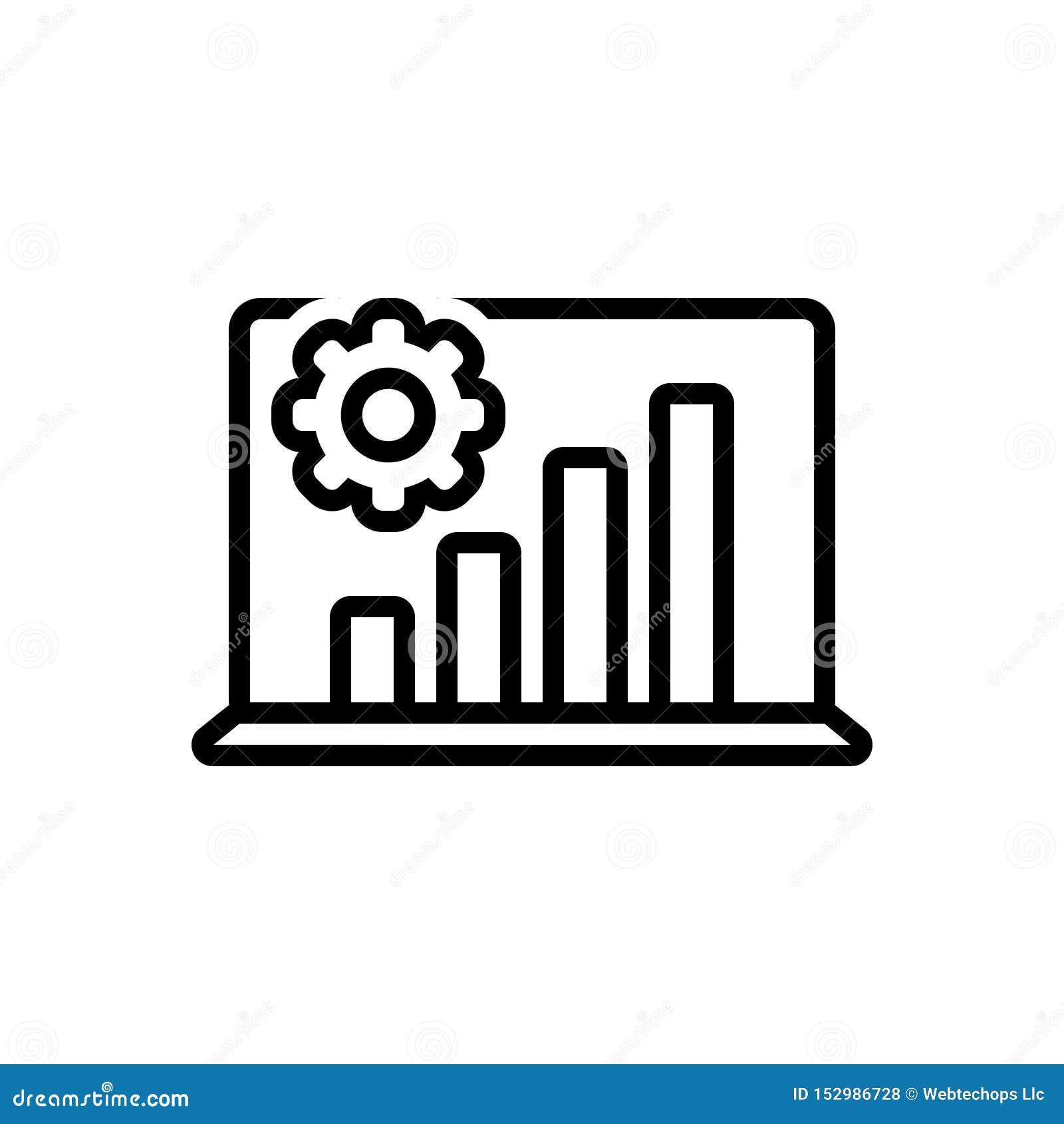 Schwarze Linie Ikone für Analyseprozeß, -laptop und -graphiken
