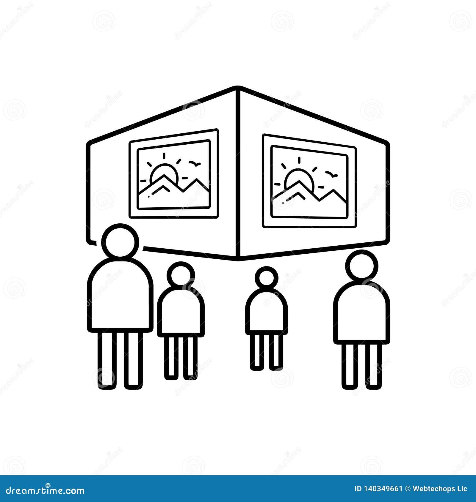 Schwarze Linie Ikone für Betrachtung, sehen und Malerei