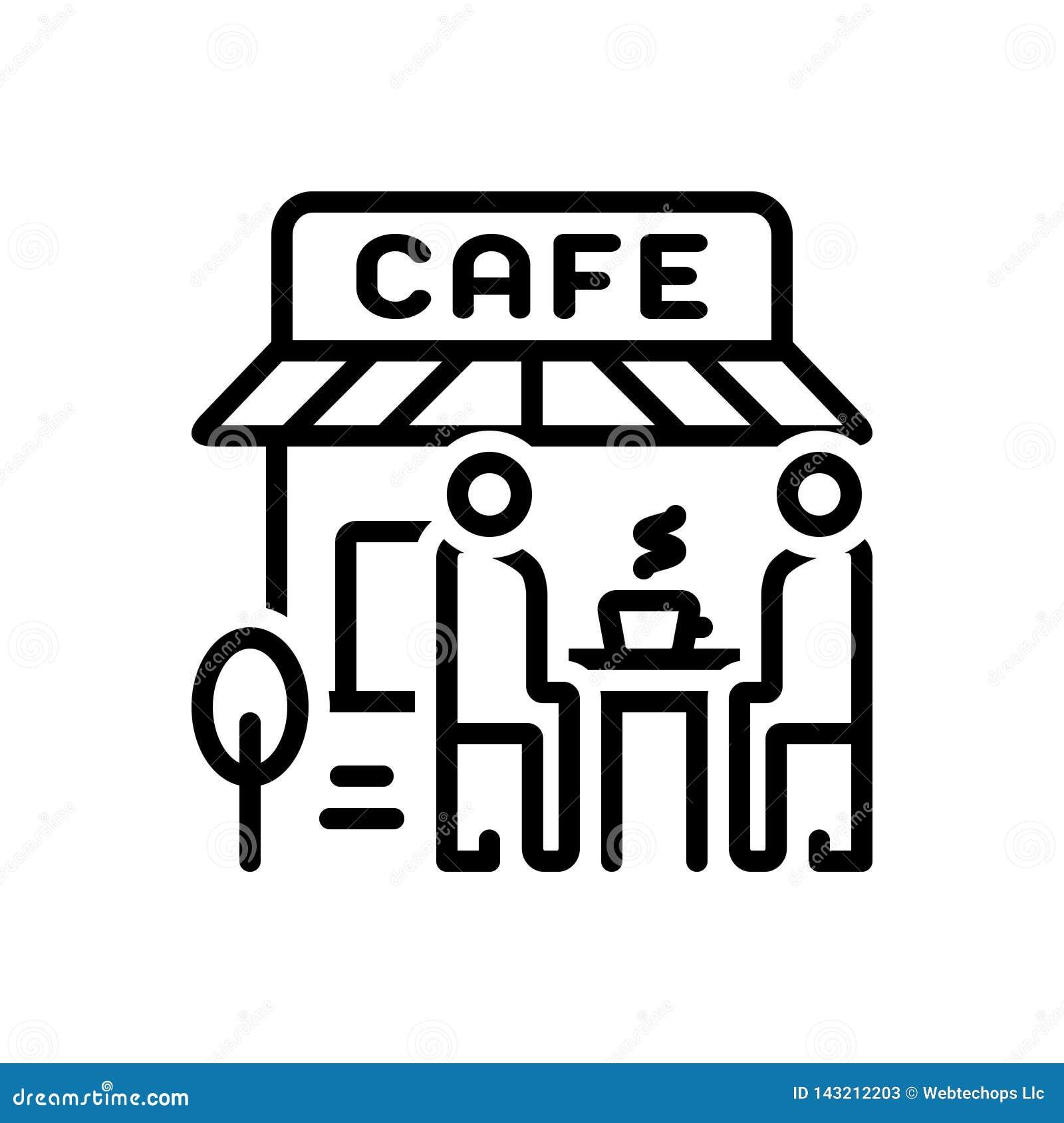 Schwarze Linie Ikone für Cafés, Cafeteria und Geschäft