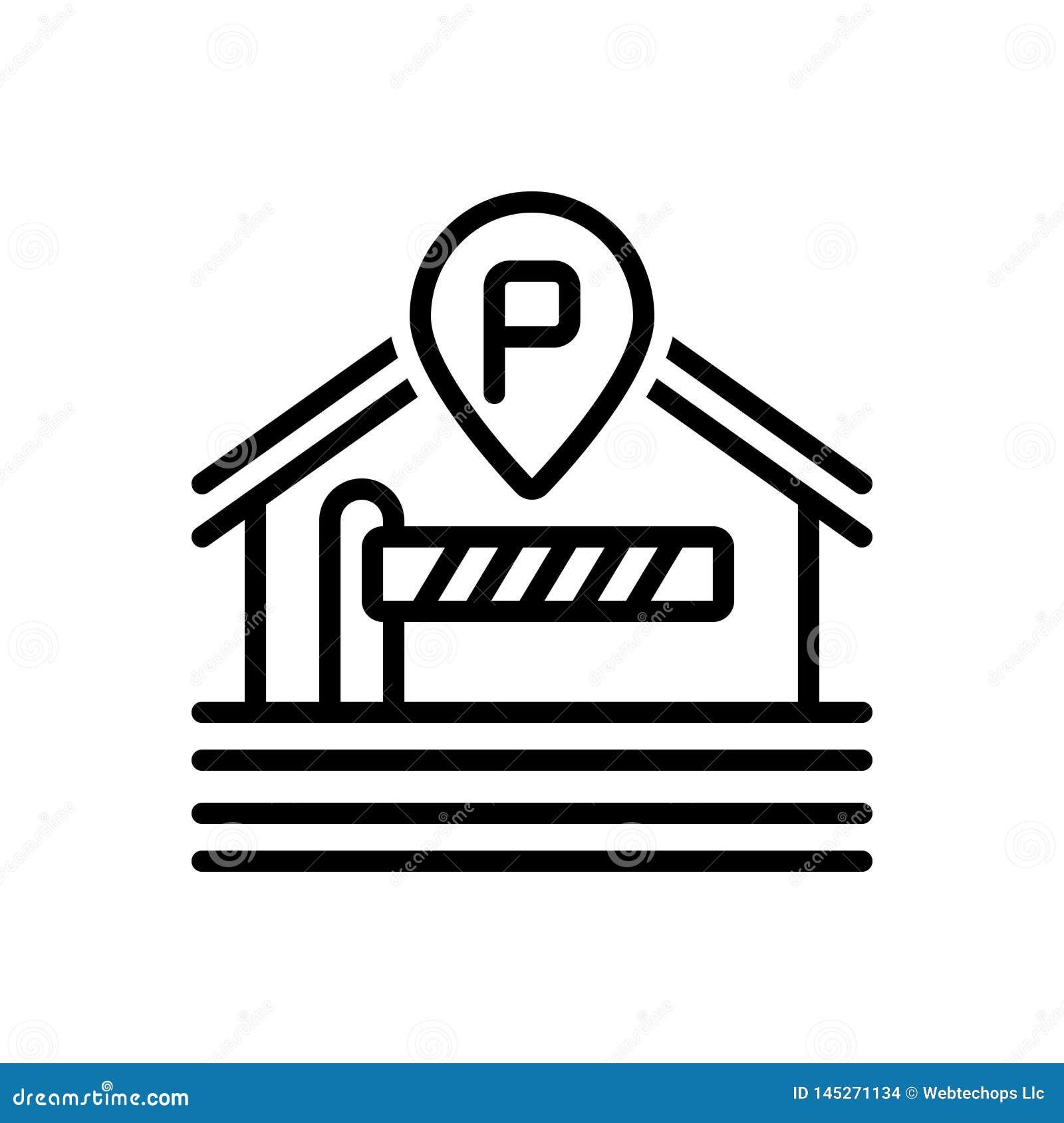 Schwarze Linie Ikone für das Parken, Sperre und Grenze