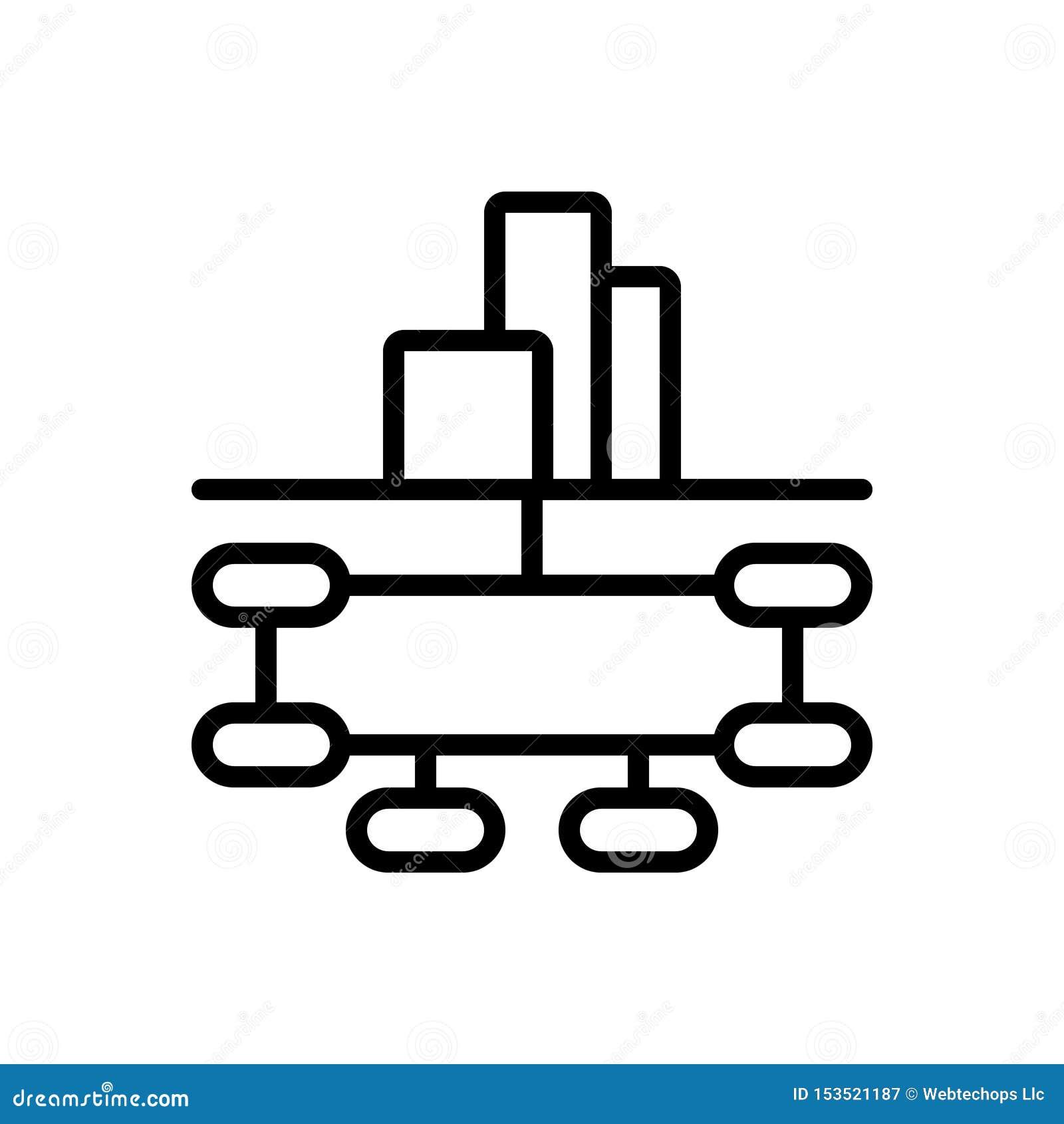 Schwarze Linie Ikone für Firmenstruktur, Firma und die Zusammenarbeit