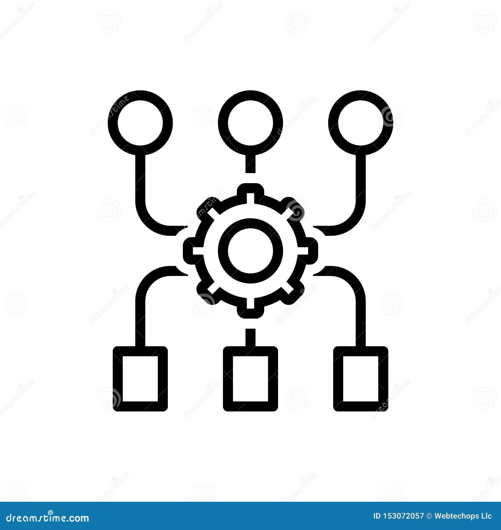 Schwarze Linie Ikone für Programm-Algorithmus, Zugang und Anwendung