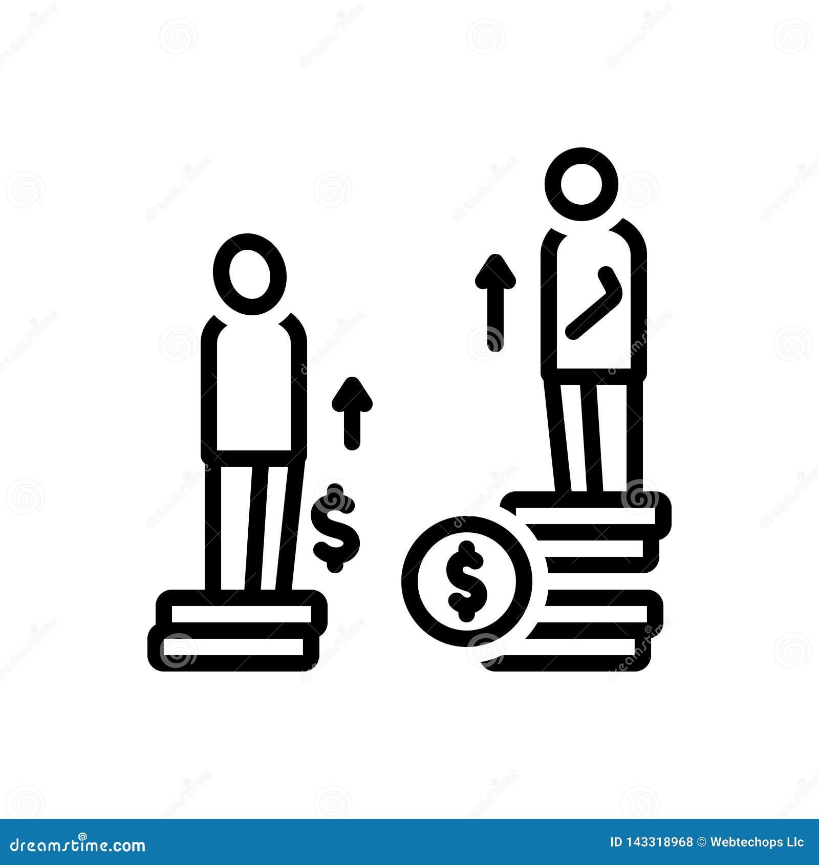 Schwarze Linie Ikone für Ungleichheit, Unterschied und Chancen