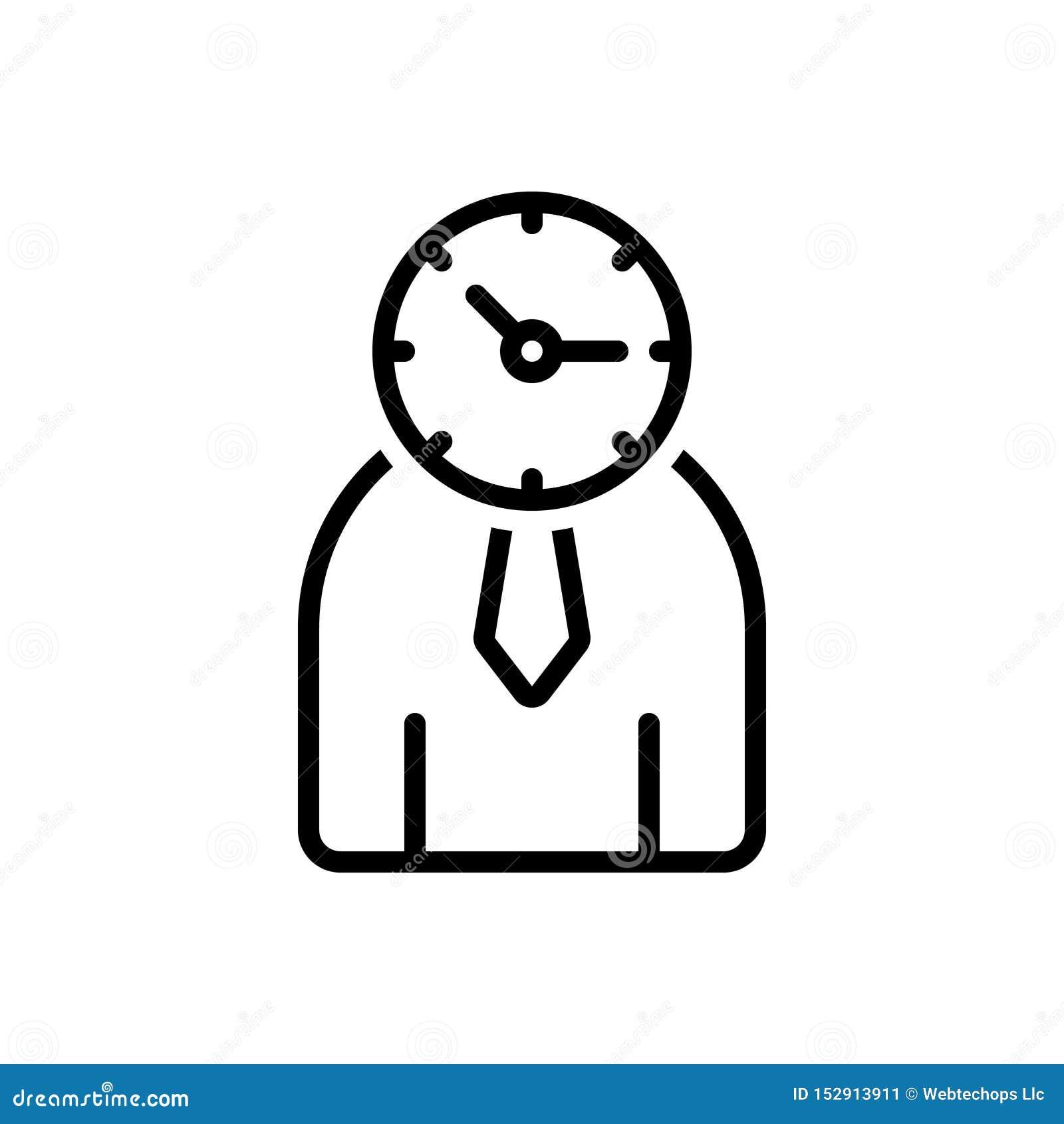 Schwarze Linie Ikone für Zeit-Management, Management und Monographie