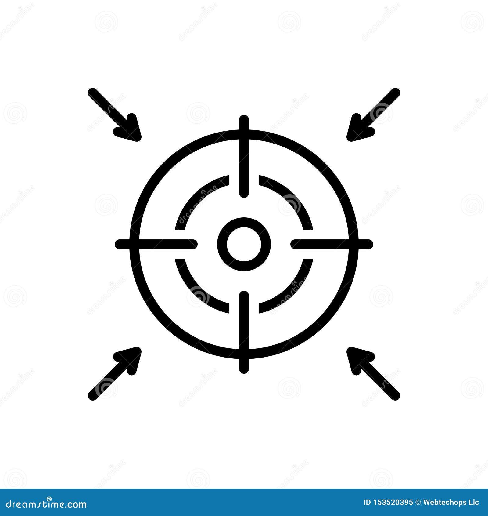 Schwarze Linie Ikone für Ziel, Ehrgeiz und Absicht