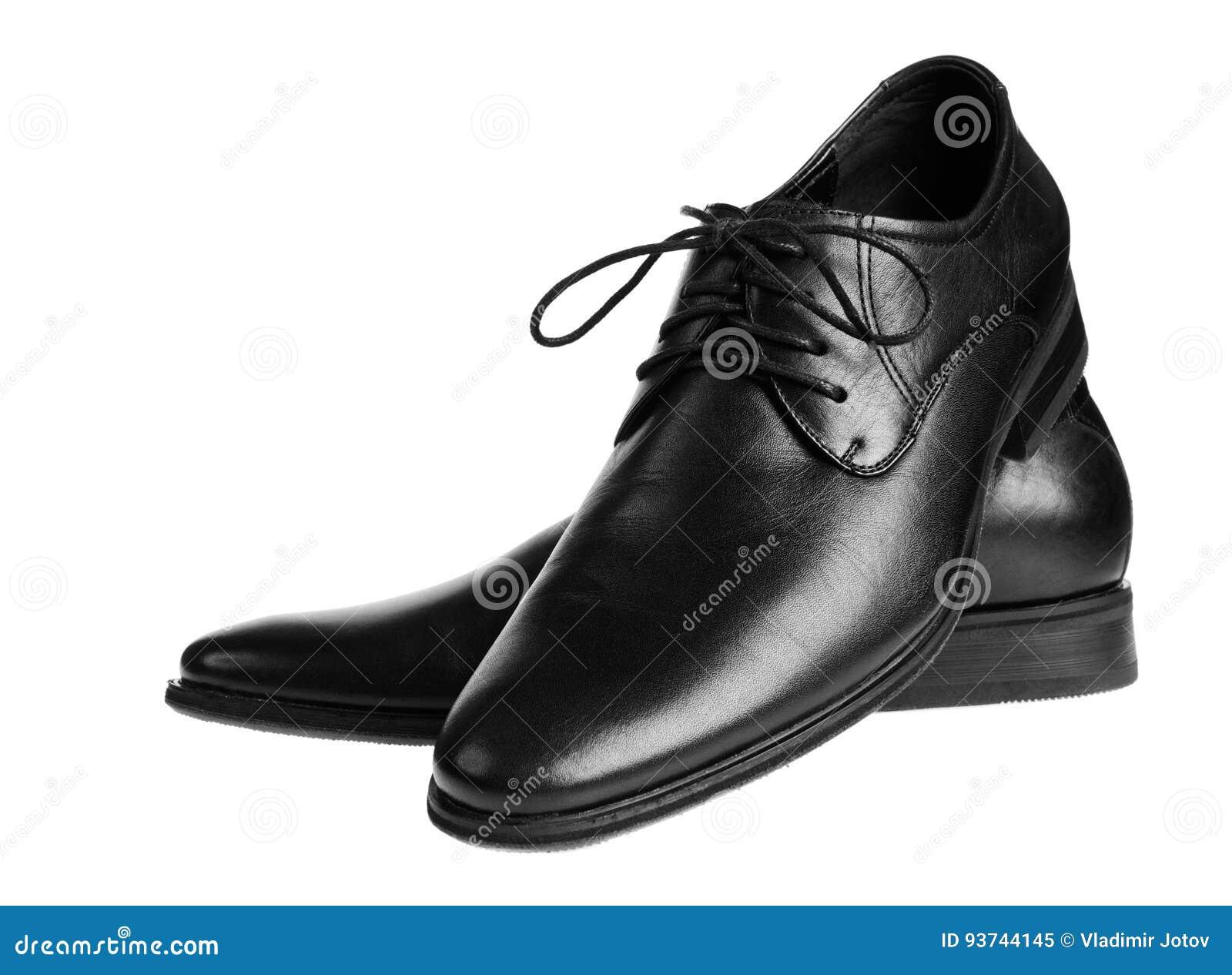 Schwarze männliche Schuhe Lokalisiert auf Weiß