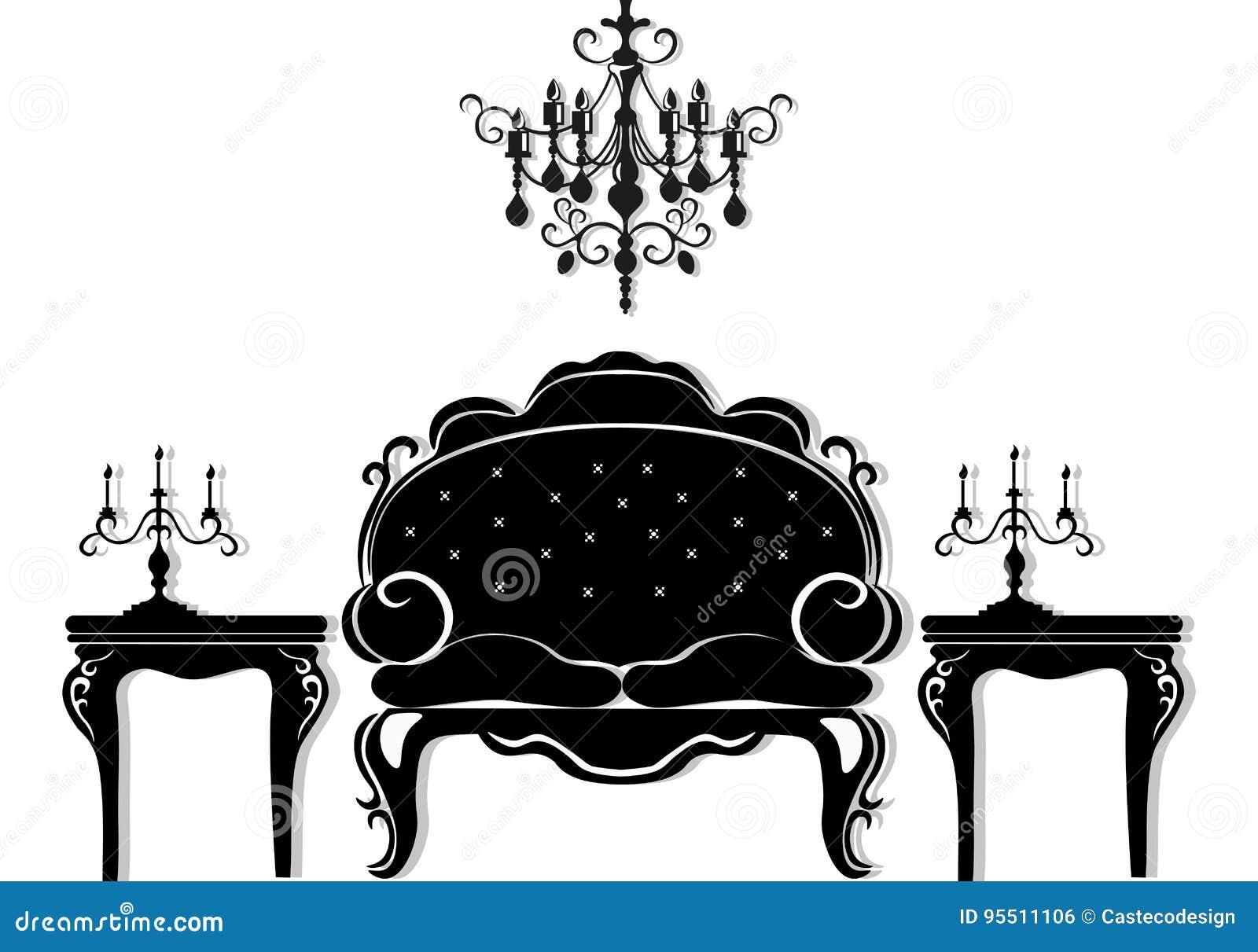 Faszinierend Schwarze Möbel Foto Von Pattern Möbel Der Weinlese Gesetzter Vektor Reiche